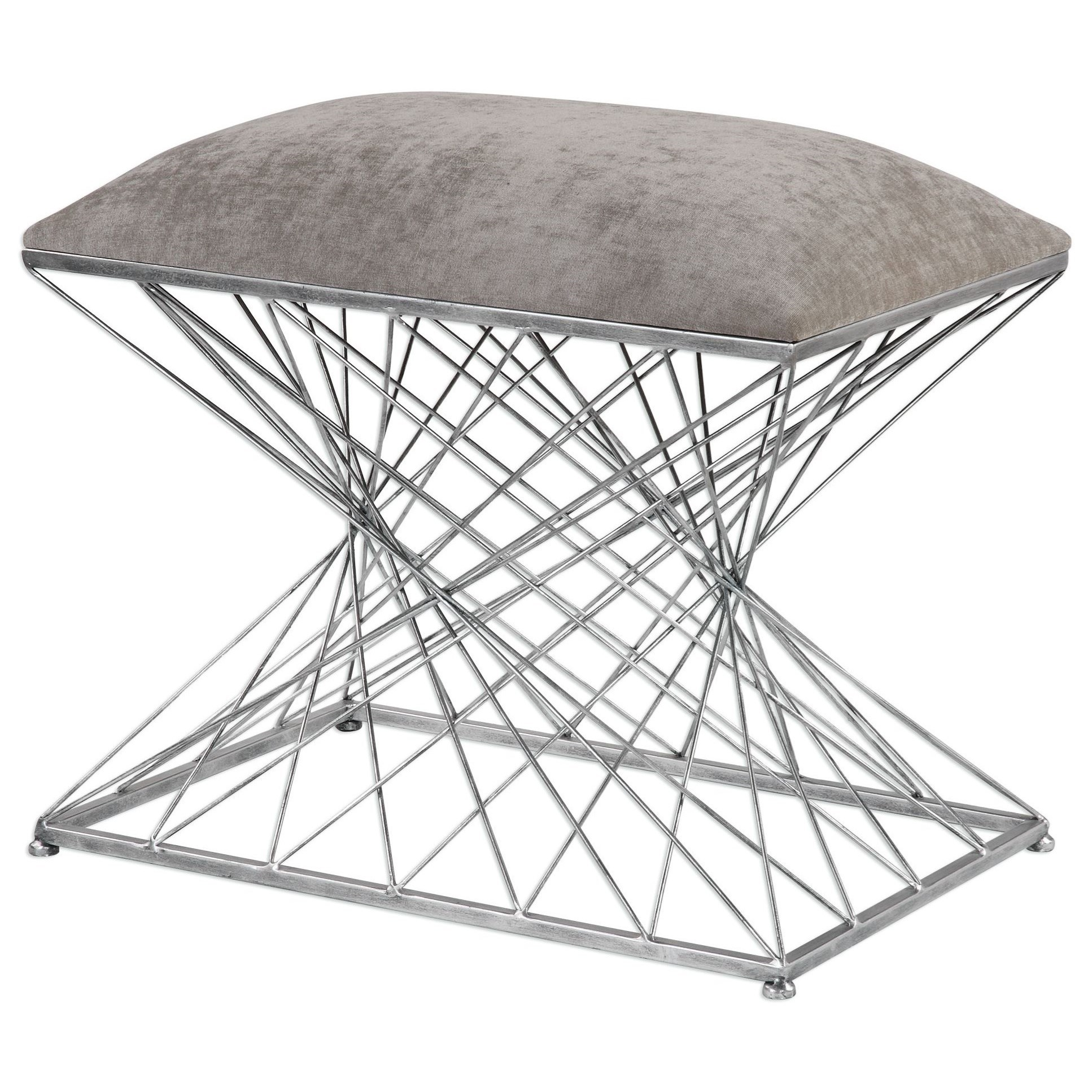 Accent Furniture - Benches Zelia Silver Accent Stool by Uttermost at Upper Room Home Furnishings