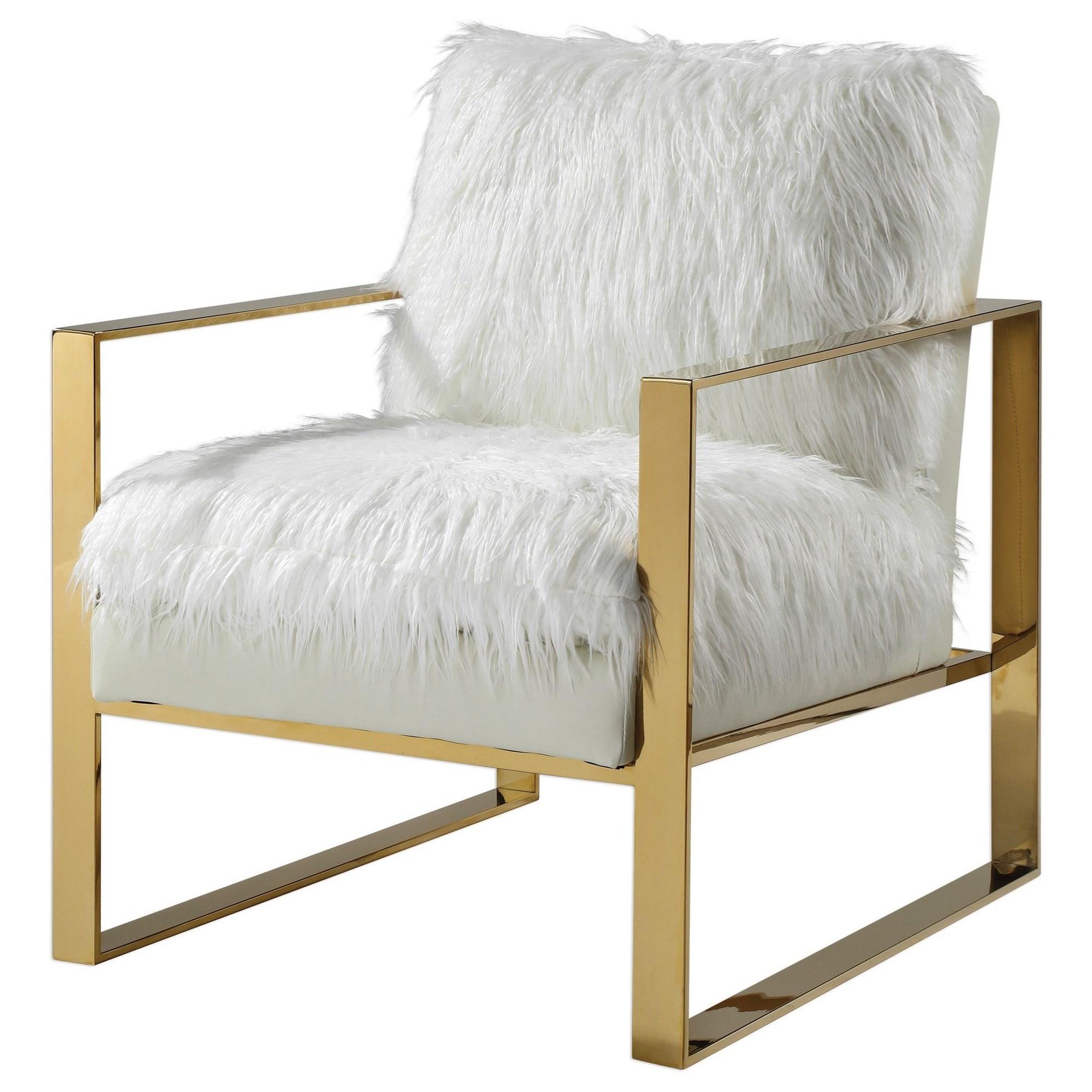 Accent Furniture - Accent Chairs Delphine White Accent Chair by Uttermost at Reid's Furniture