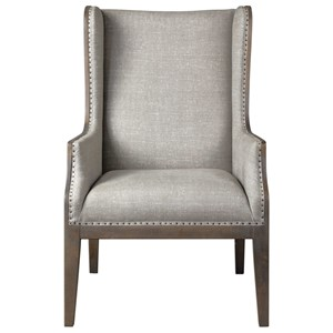 Florent Wing-Back Armchair with Nailhead Trim
