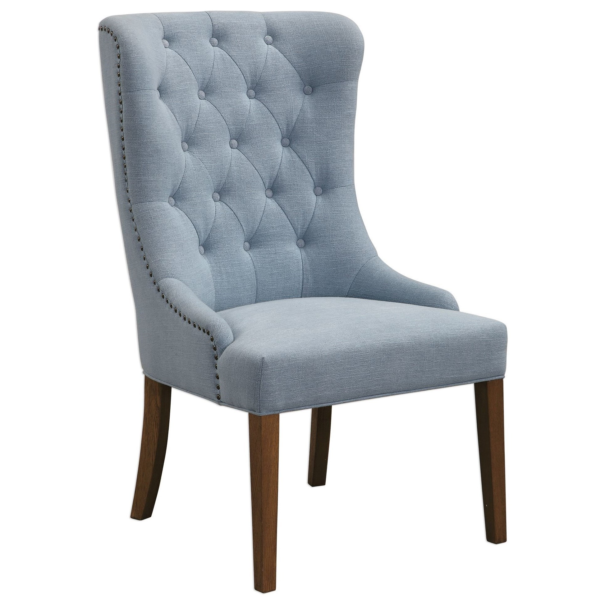 Accent Furniture - Accent Chairs Rioni Tufted Wing Chair by Uttermost at Upper Room Home Furnishings