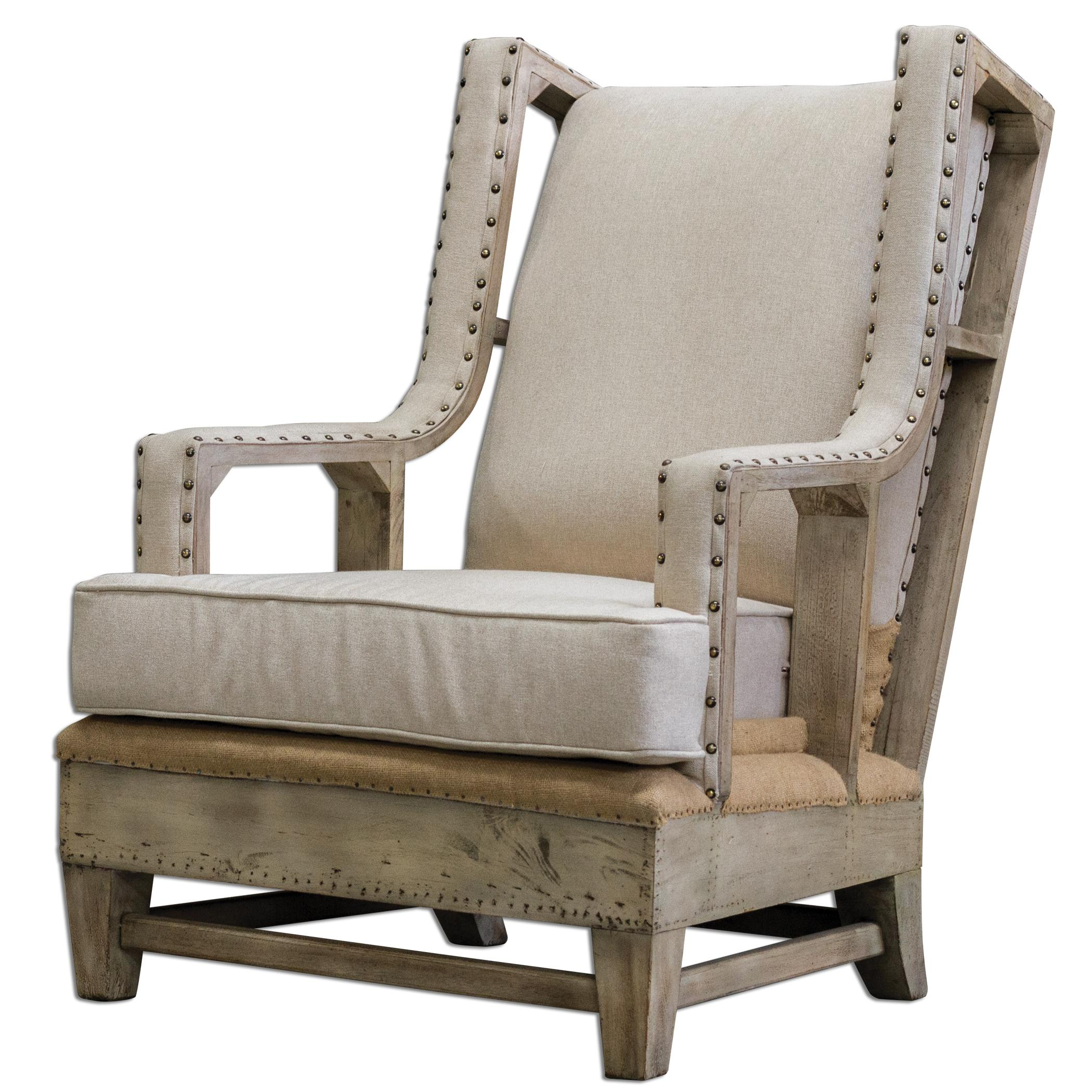 Accent Furniture - Accent Chairs Schafer Linen Arm Chair by Uttermost at Furniture Superstore - Rochester, MN