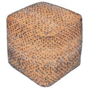 Valda Orange Wool Pouf