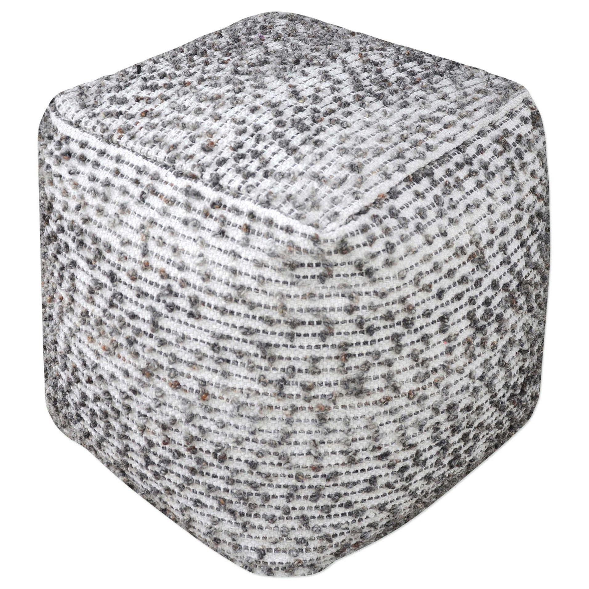 Accent Furniture - Ottomans Valda Linen Wool Pouf by Uttermost at Mueller Furniture