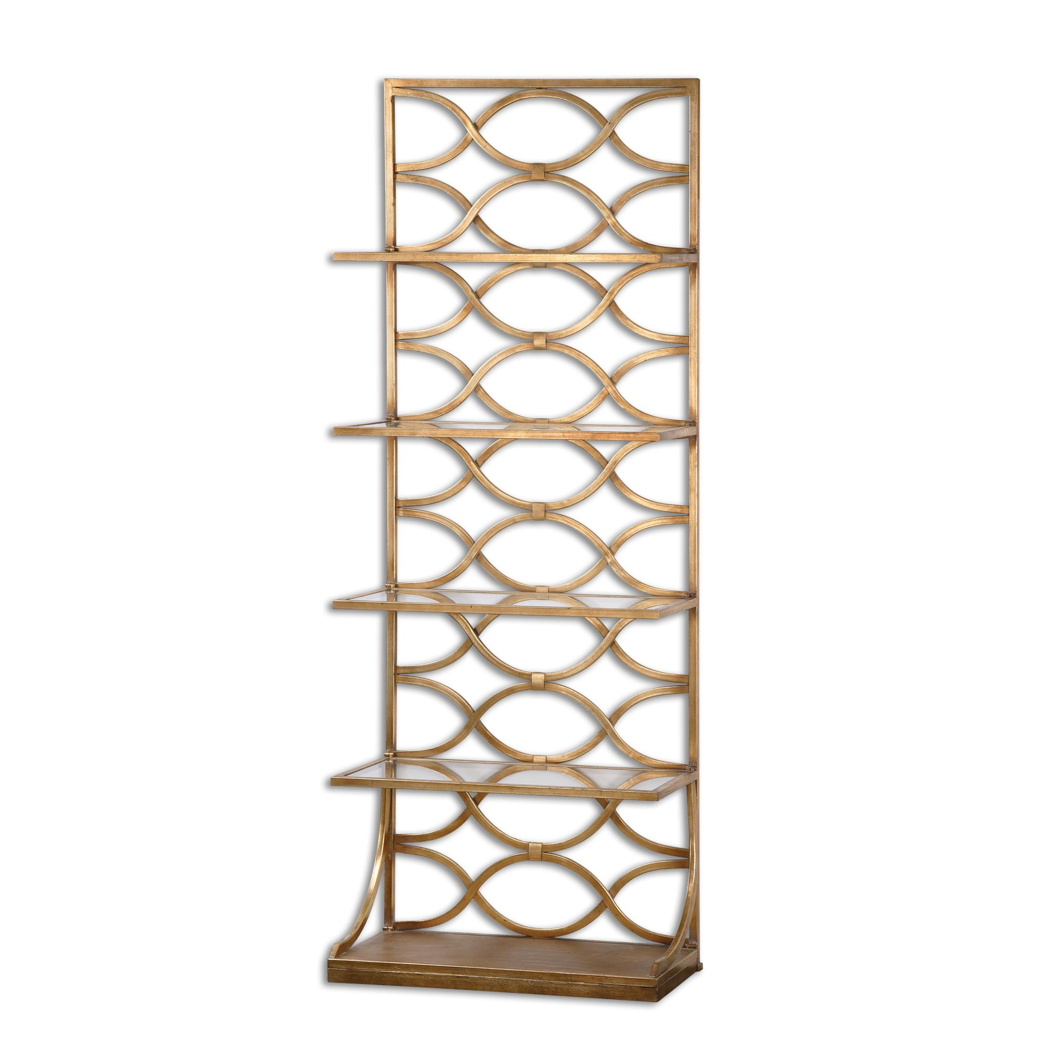 Accent Furniture - Bookcases Lashaya Gold Etagere by Uttermost at Upper Room Home Furnishings