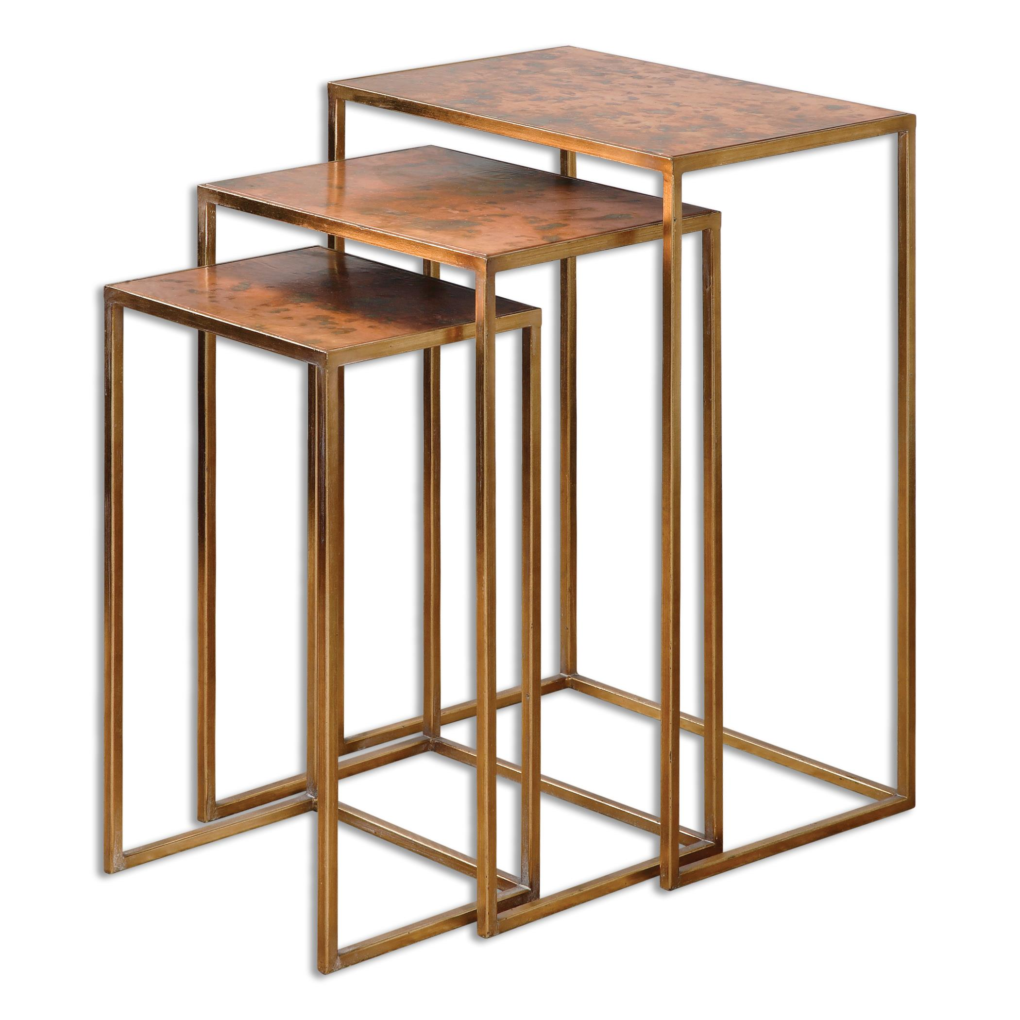 Accent Furniture - Occasional Tables Copres Oxidized Nesting Tables Set/3 by Uttermost at Del Sol Furniture
