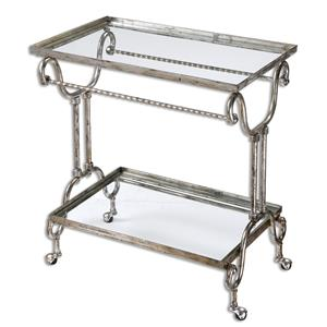 Uttermost Accent Furniture Acasia Silver Tea Cart