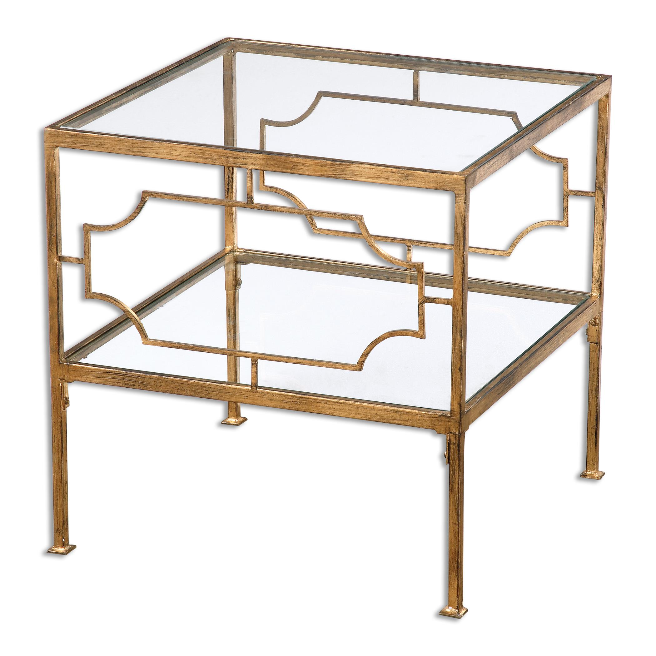 Accent Furniture - Occasional Tables Genell Gold Cube Table by Uttermost at Del Sol Furniture