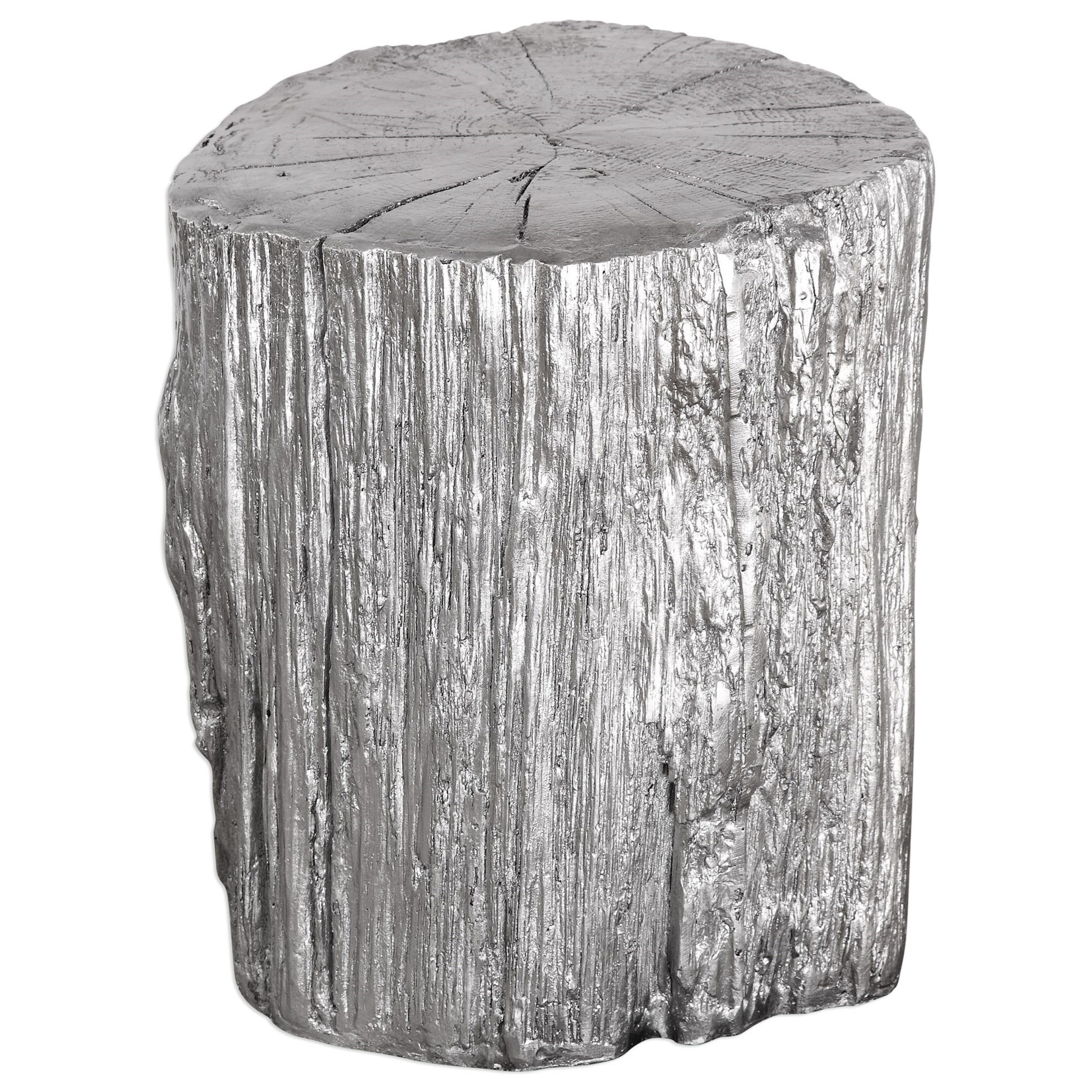 Accent Furniture - Benches  Cambium Silver Tree Stump Stool by Uttermost at Del Sol Furniture