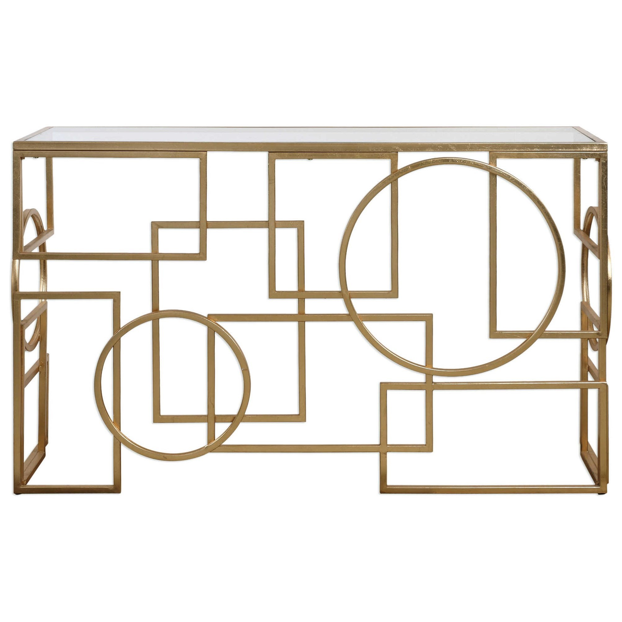Accent Furniture - Occasional Tables Metria Gold Console Table by Uttermost at Mueller Furniture