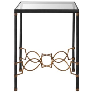 Josie Industrial Black Accent Table