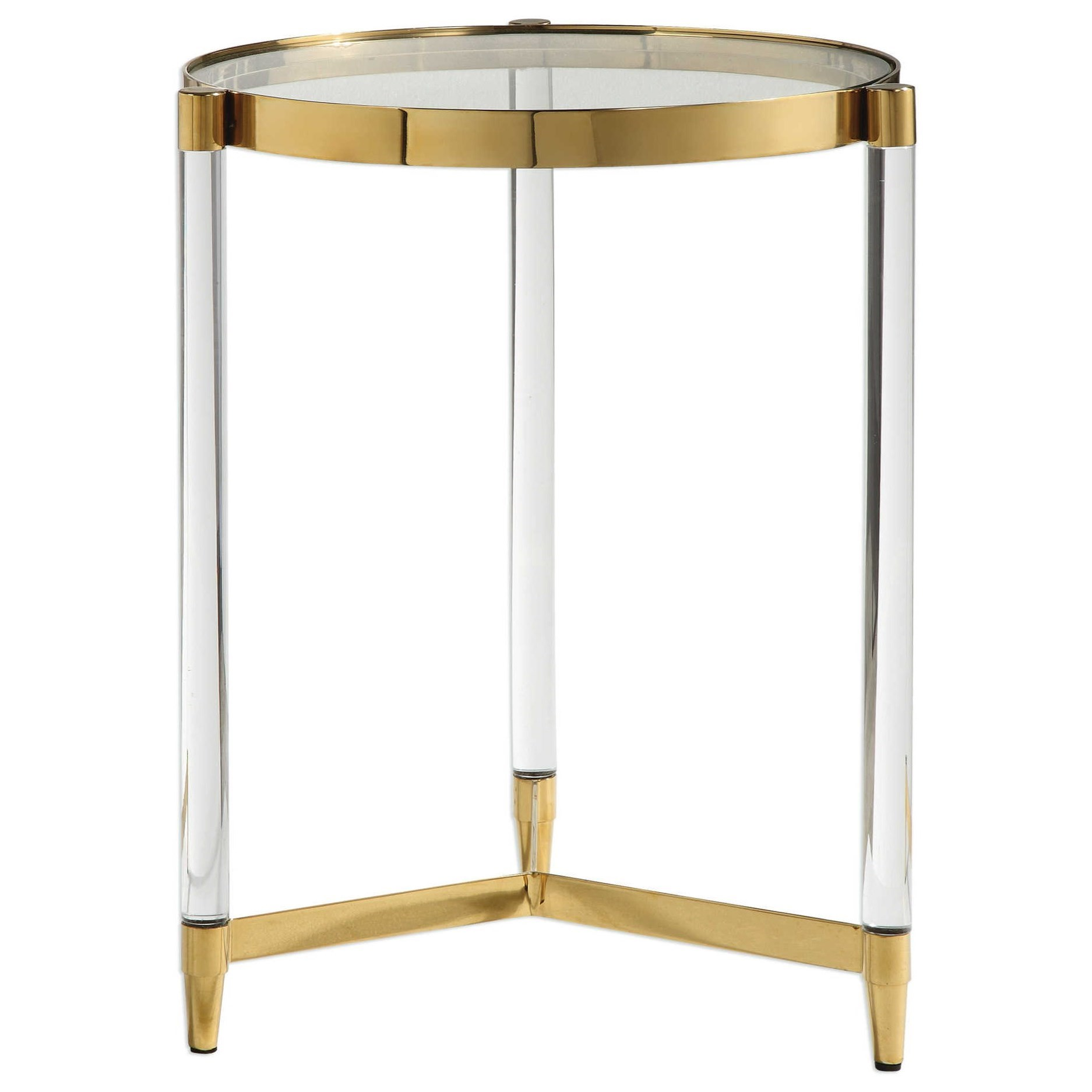Accent Furniture - Occasional Tables Kellen Glass Accent Table by Uttermost at Goffena Furniture & Mattress Center