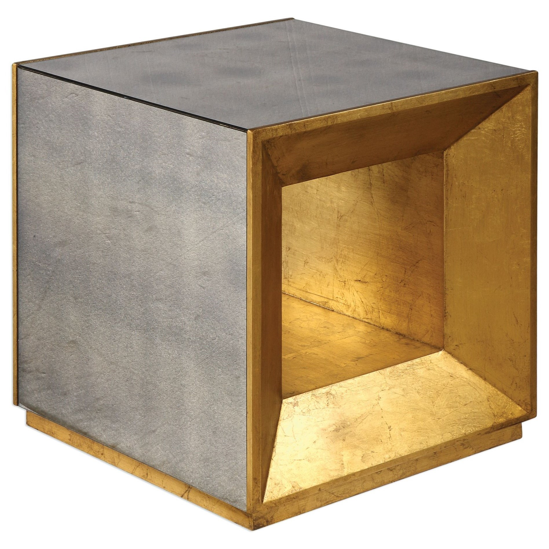 Accent Furniture - Occasional Tables Flair Gold Cube Table by Uttermost at O'Dunk & O'Bright Furniture