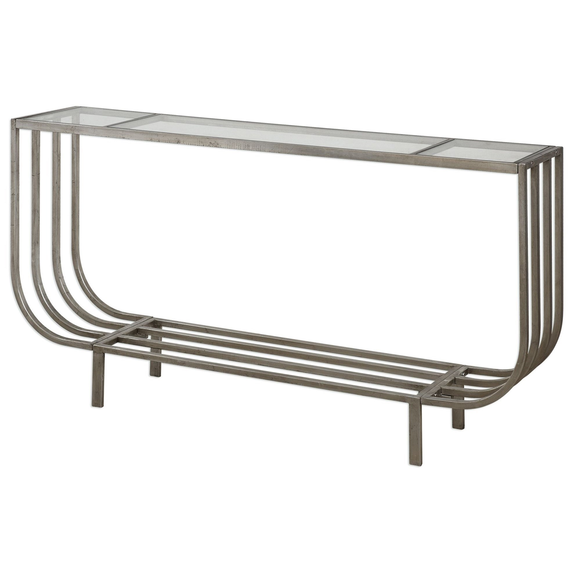 Accent Furniture - Occasional Tables Arlice Bright Silver Console Table by Uttermost at Mueller Furniture