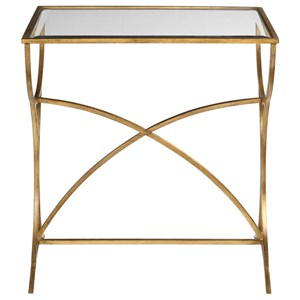 Sarette Antiqued Gold Accent Table