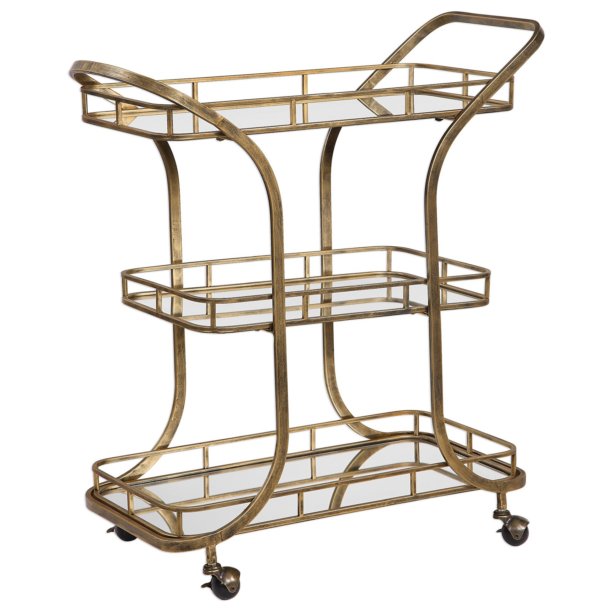 Accent Furniture Stassi Gold Serving Cart by Uttermost at Factory Direct Furniture