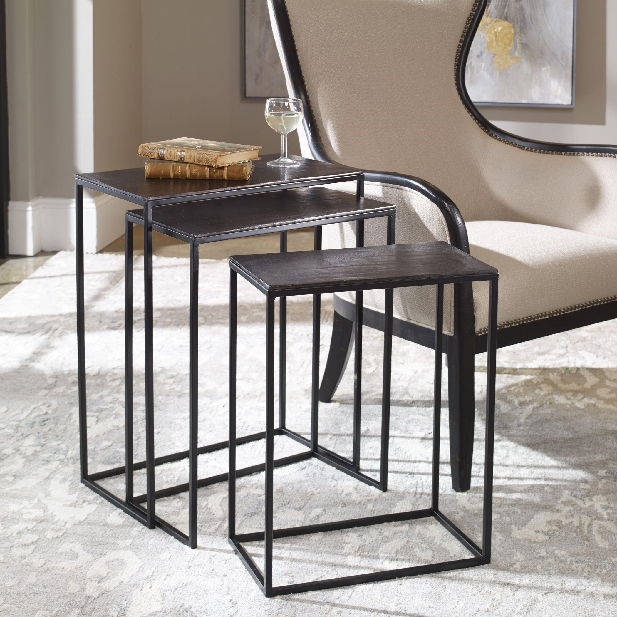 Accent Furniture - Occasional Tables Coreene Iron Nesting Tables S/3 by Uttermost at Suburban Furniture