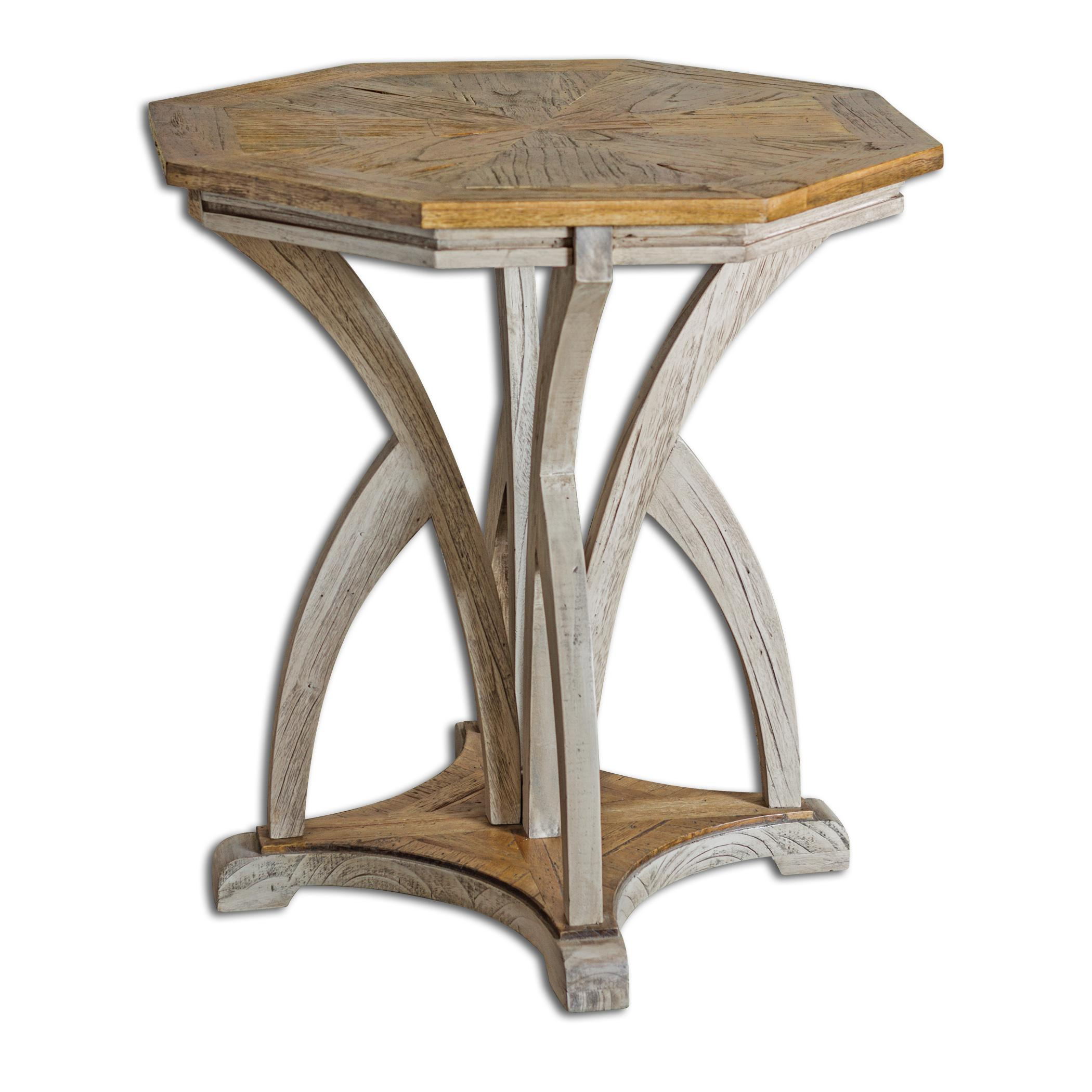 Accent Furniture - Occasional Tables Ranen Aged White Accent Table by Uttermost at Reid's Furniture