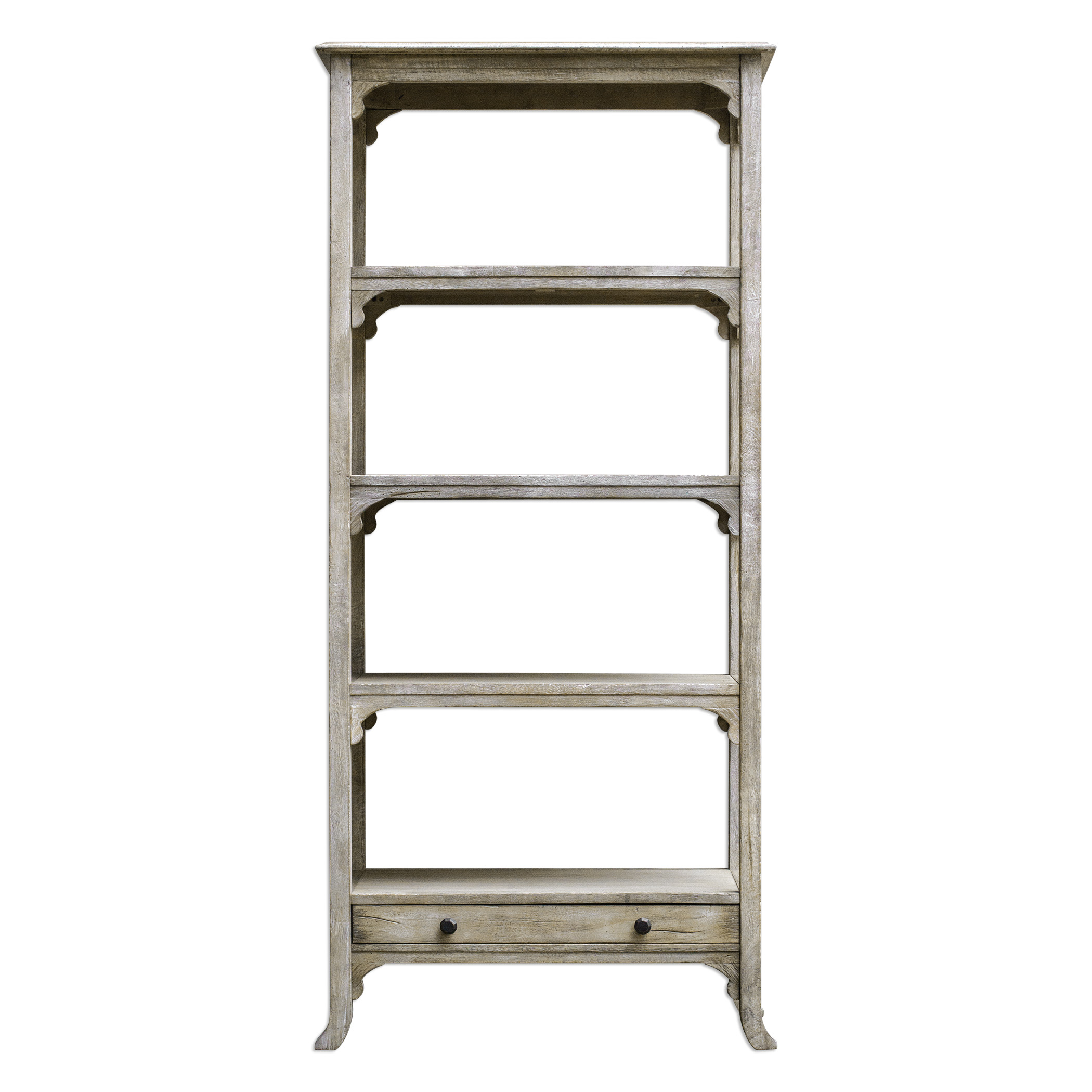 Accent Furniture - Bookcases Bridgely Aged White Etagere by Uttermost at Factory Direct Furniture