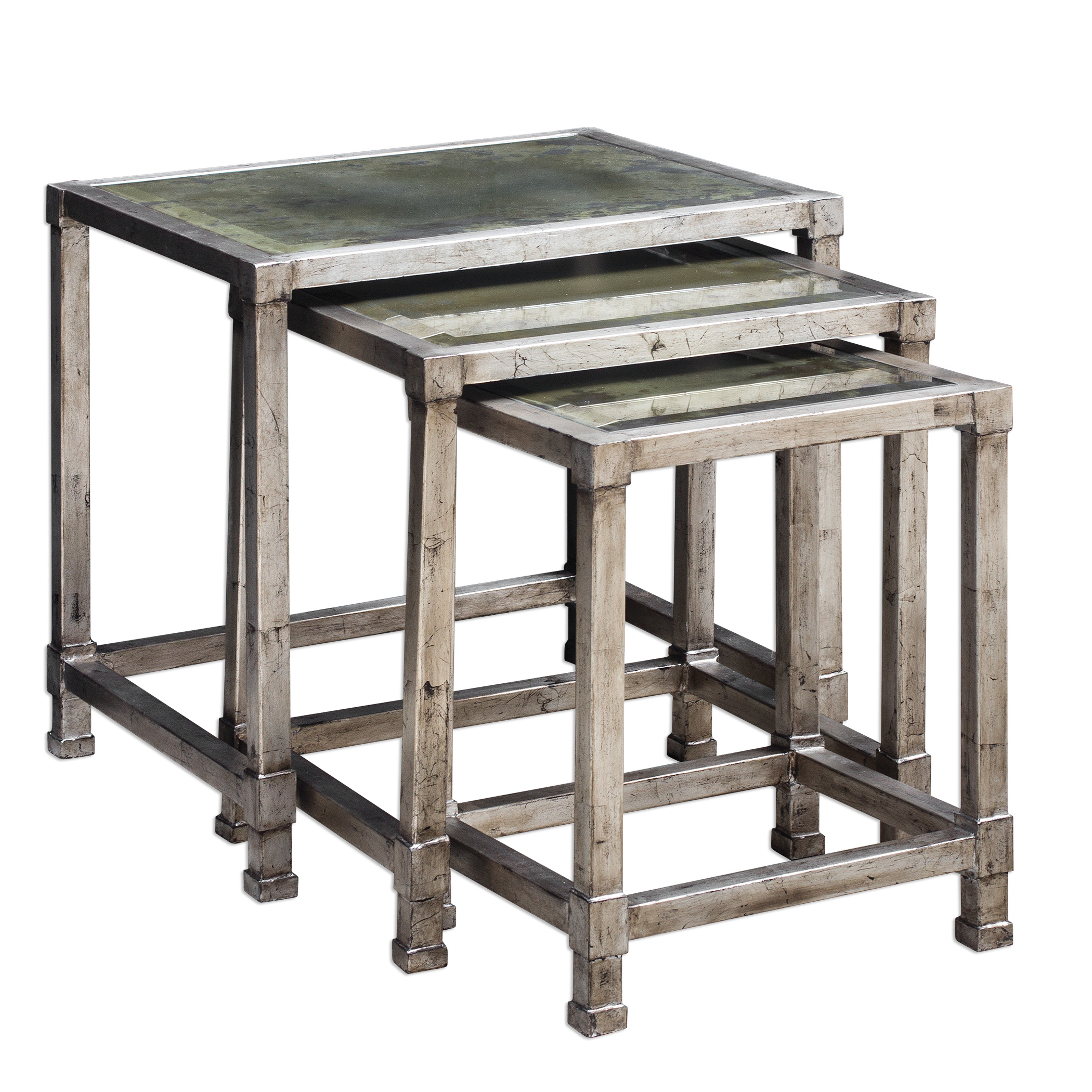 Accent Furniture - Occasional Tables Keanna Antiqued Silver Nesting Tables, S/3 by Uttermost at Goffena Furniture & Mattress Center