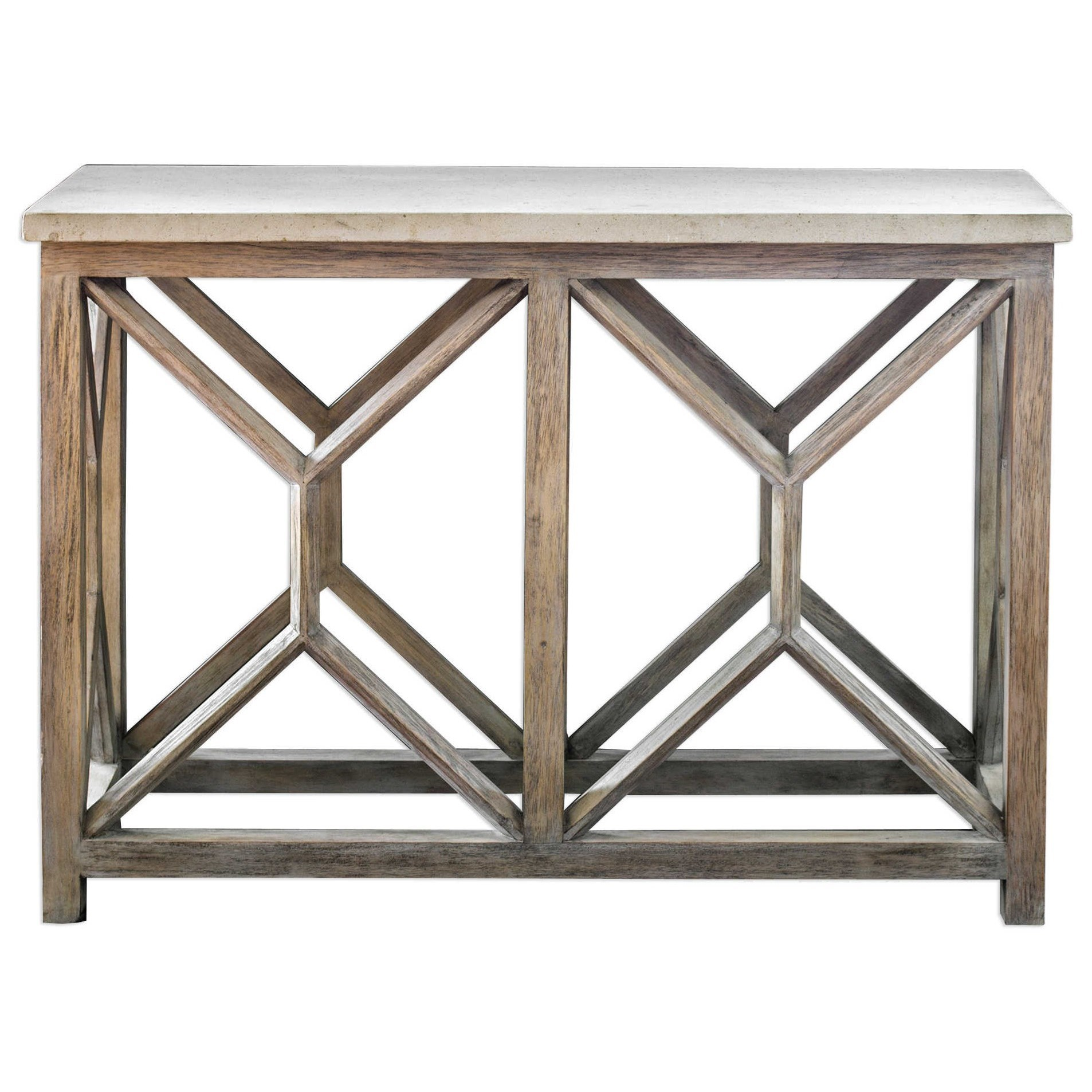 Accent Furniture - Occasional Tables Catali Ivory Stone Console Table by Uttermost at Mueller Furniture