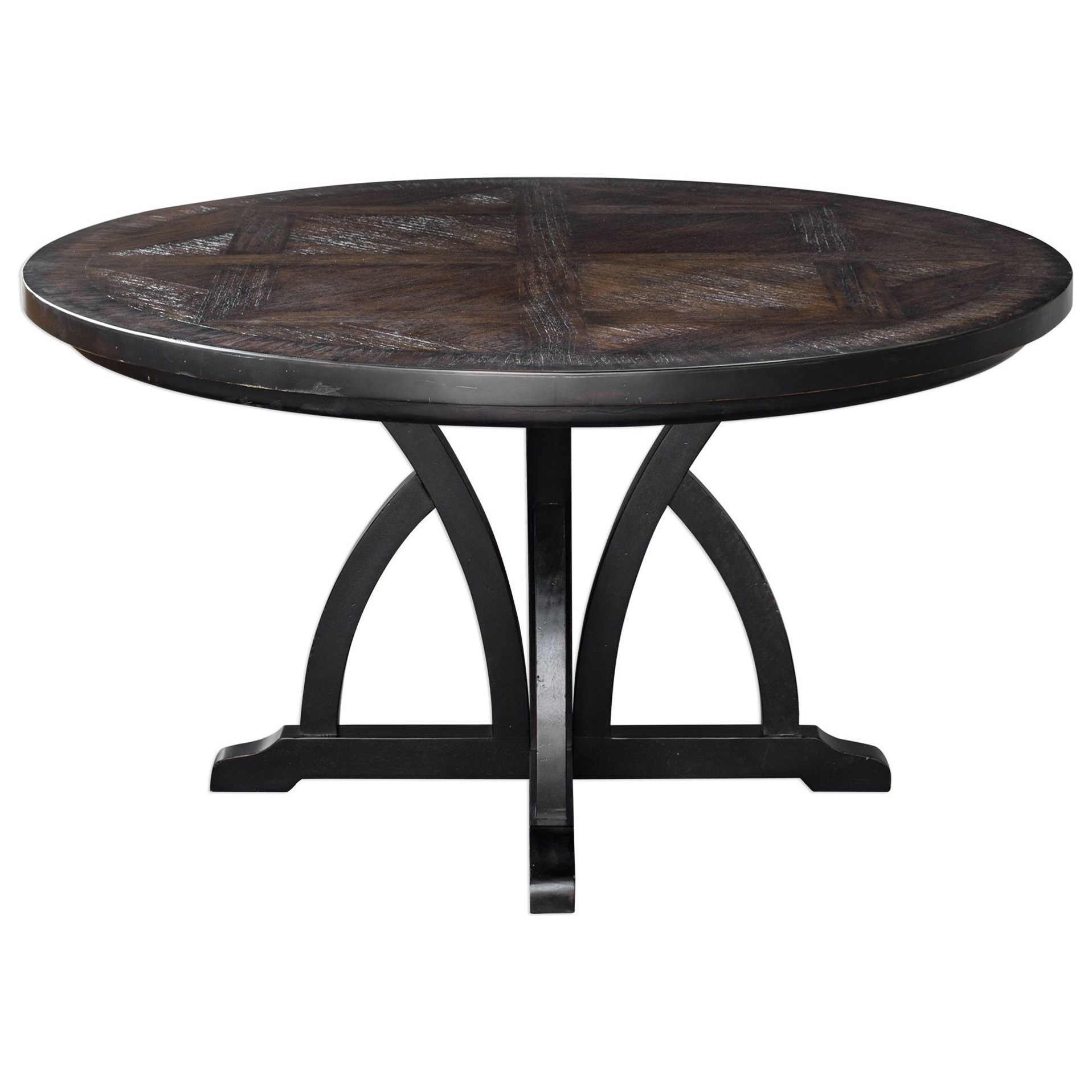 Accent Furniture Maiva Round Black Dining Table by Uttermost at Goffena Furniture & Mattress Center