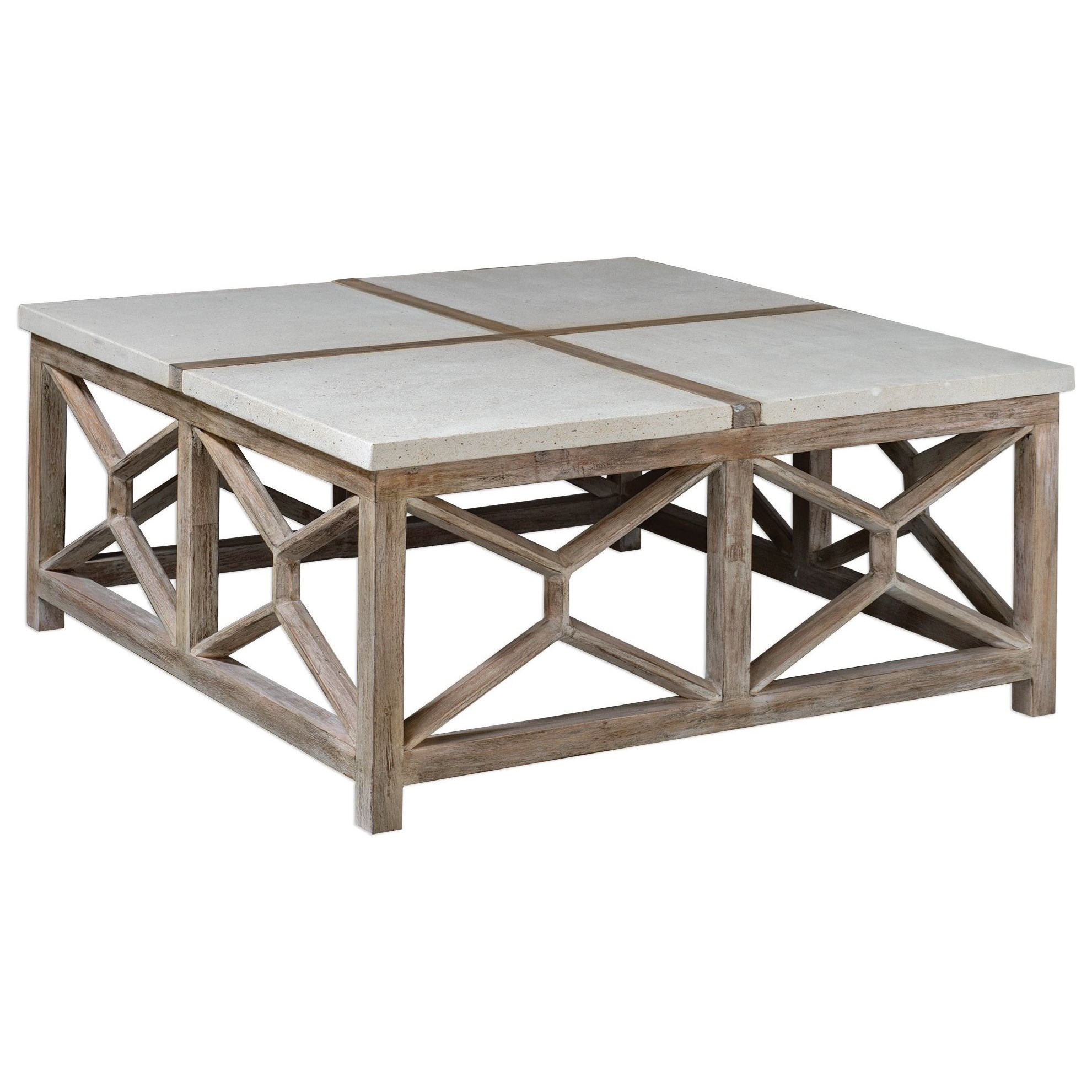 Accent Furniture - Occasional Tables Catali Stone Coffee Table by Uttermost at Upper Room Home Furnishings