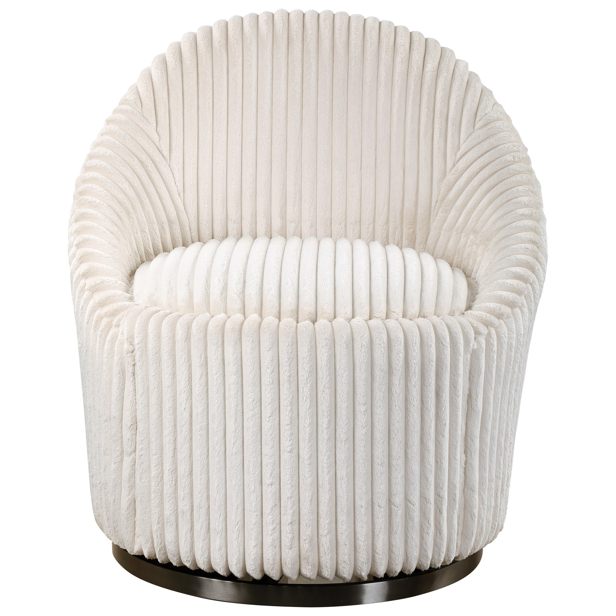 Accent Furniture - Accent Chairs Crue White Swivel Chair by Uttermost at Adcock Furniture