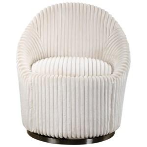 Crue White Swivel Chair