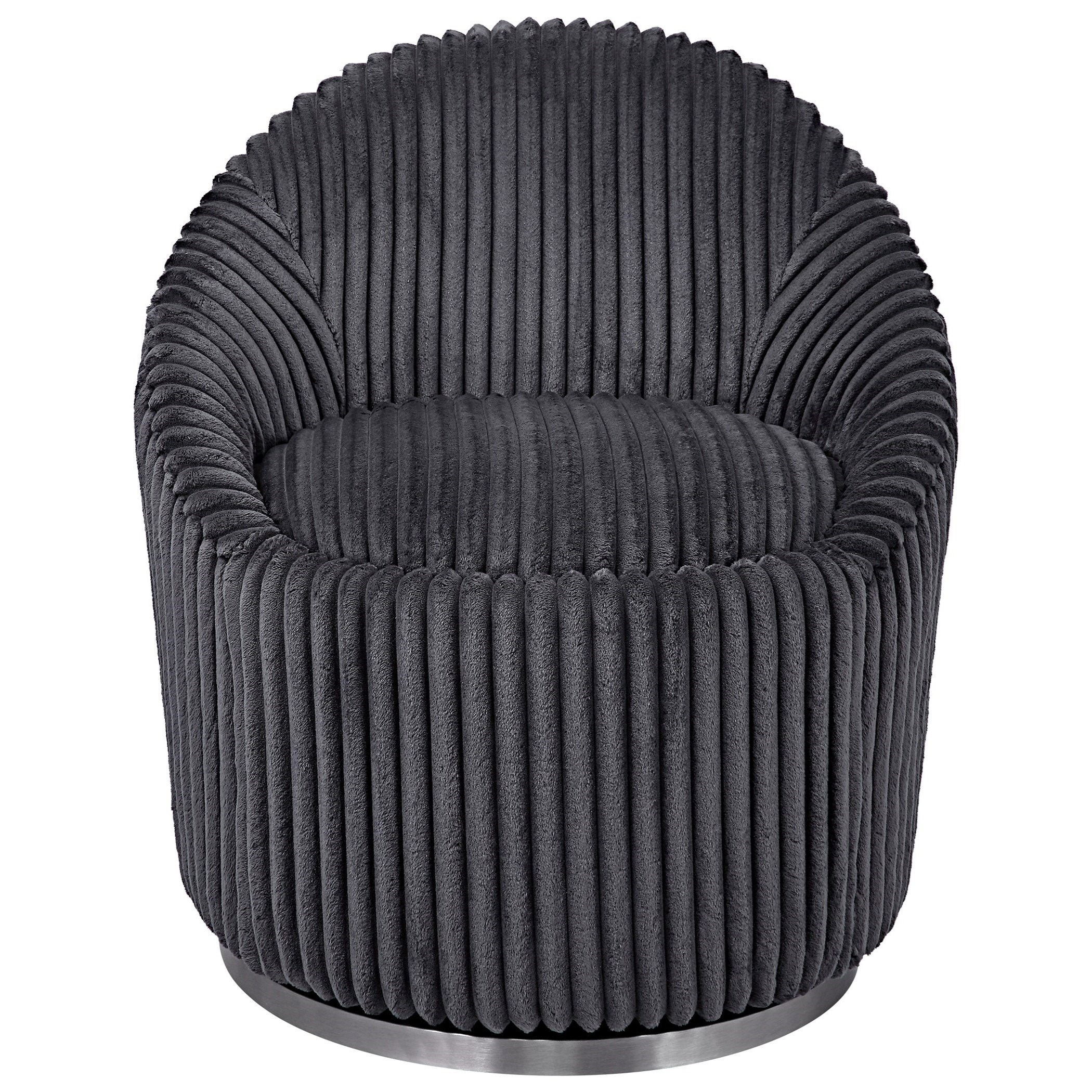 Accent Furniture - Accent Chairs Crue Gray Fabric Swivel Chair by Uttermost at Mueller Furniture