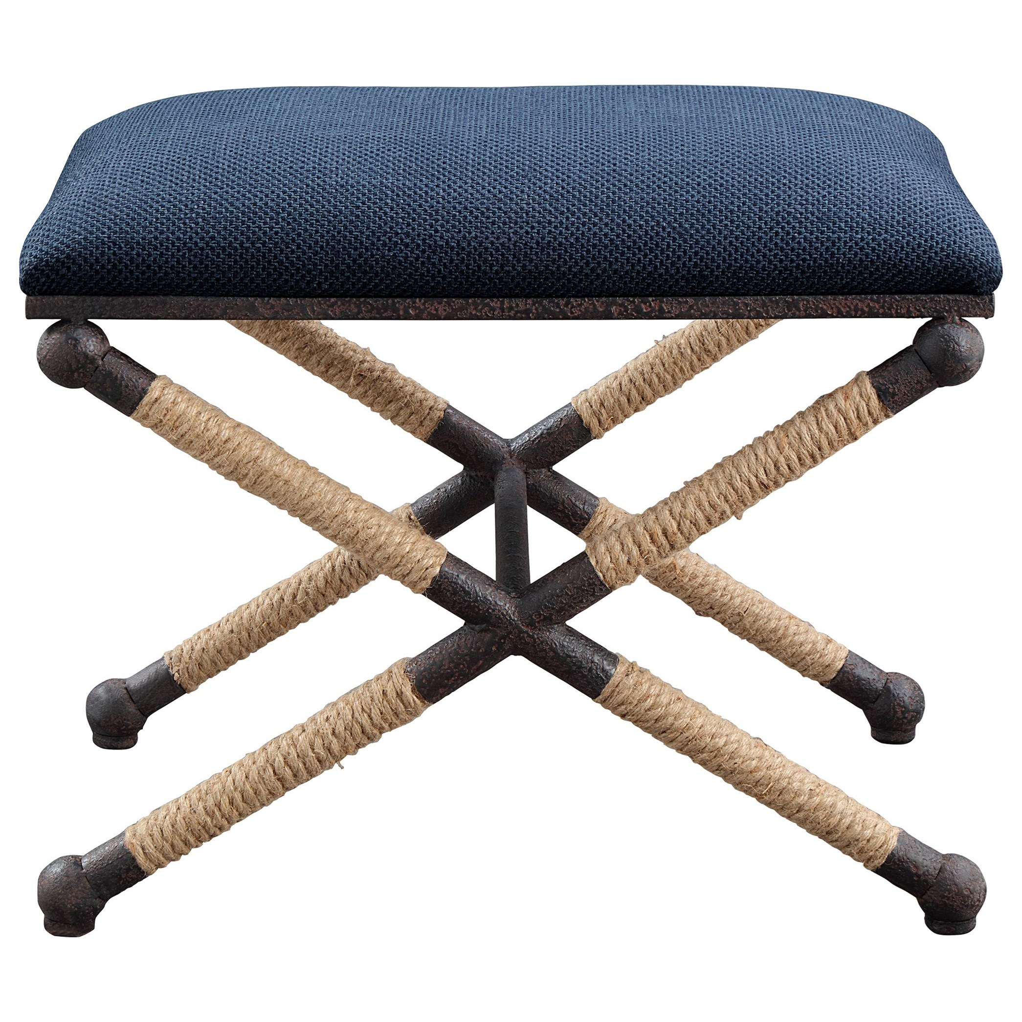 Accent Furniture - Benches Firth Small Navy Fabric Bench by Uttermost at Mueller Furniture