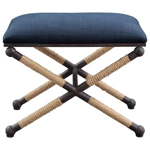 Firth Small Navy Fabric Bench