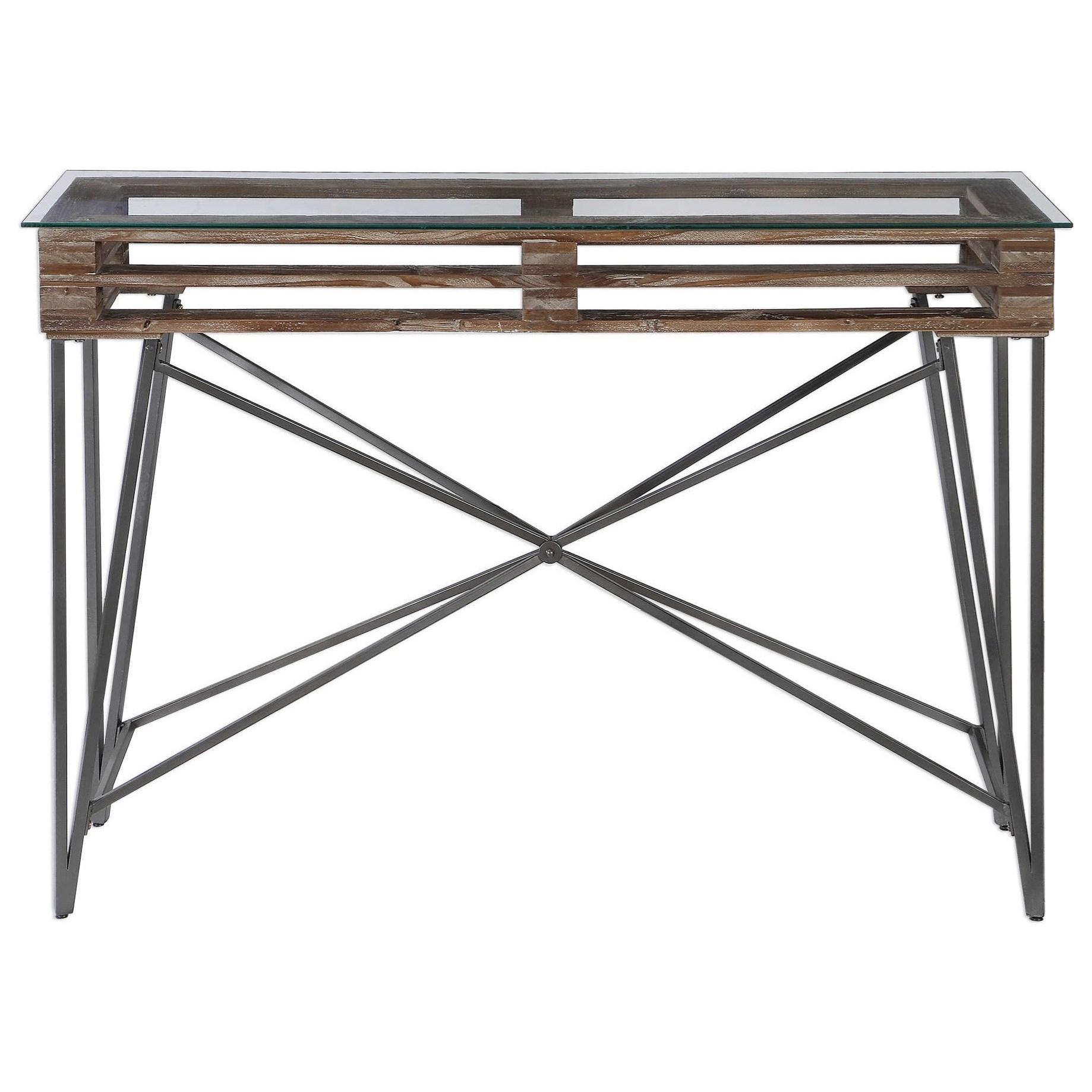 Accent Furniture - Occasional Tables Ryne Industrial Console Table by Uttermost at Factory Direct Furniture