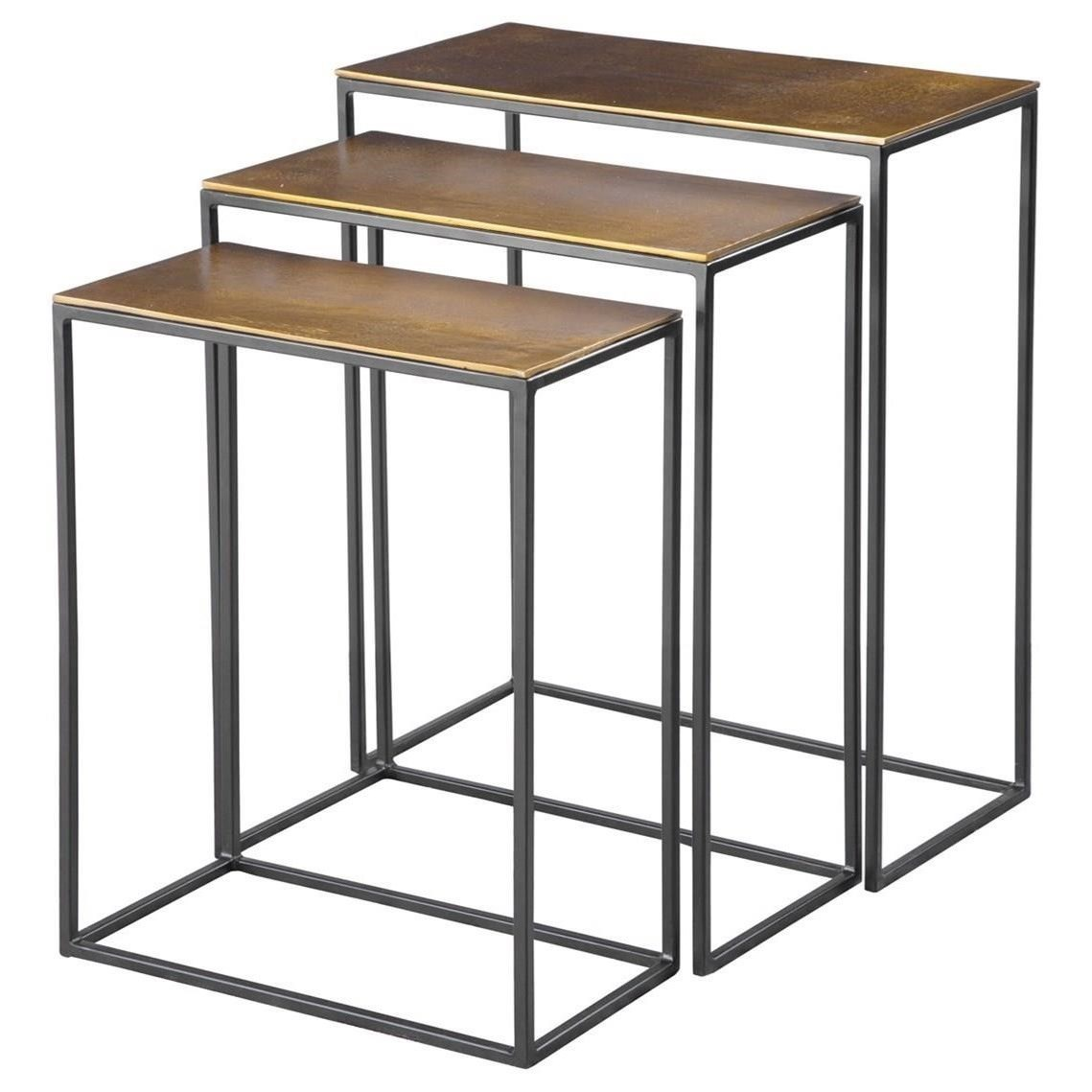 Accent Furniture - Occasional Tables Coreene Gold Nesting Tables Set/3 by Uttermost at Mueller Furniture