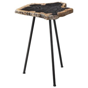 Mircea Petrified Wood Accent Table
