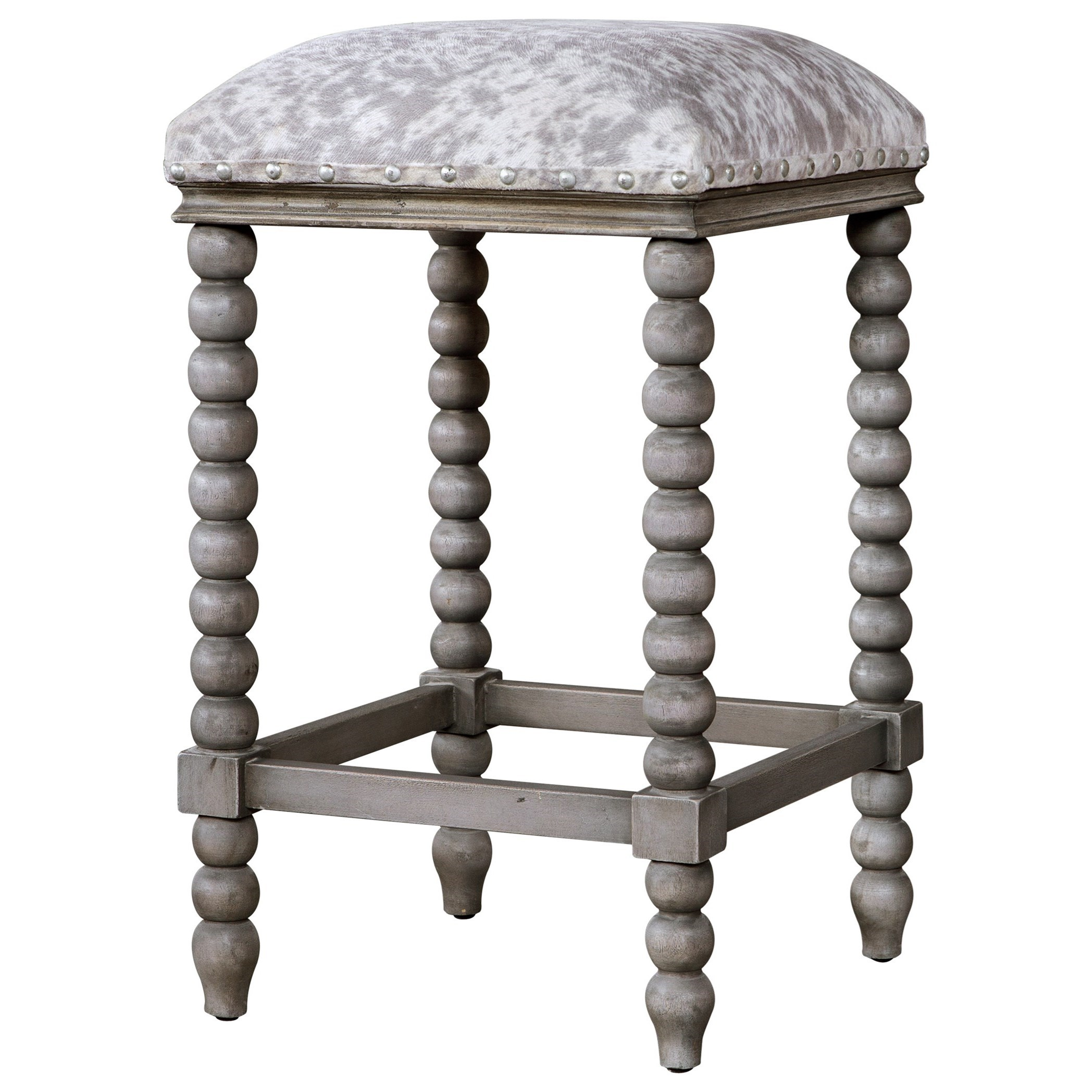 Accent Furniture - Stools Estes Faux Cow Hide Counter Stool by Uttermost at Suburban Furniture