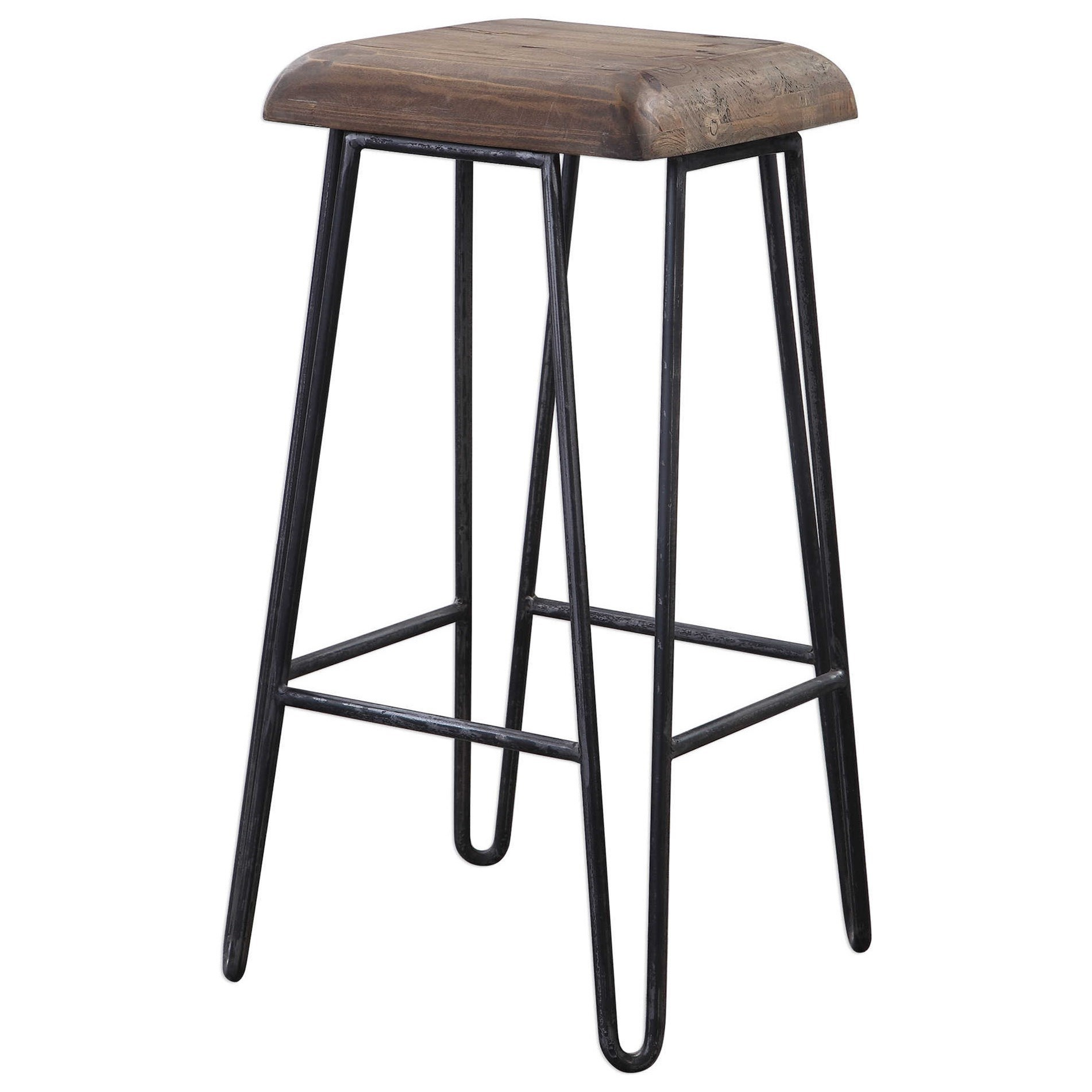 Accent Furniture - Stools Albie Industrial Bar Stool by Uttermost at Factory Direct Furniture