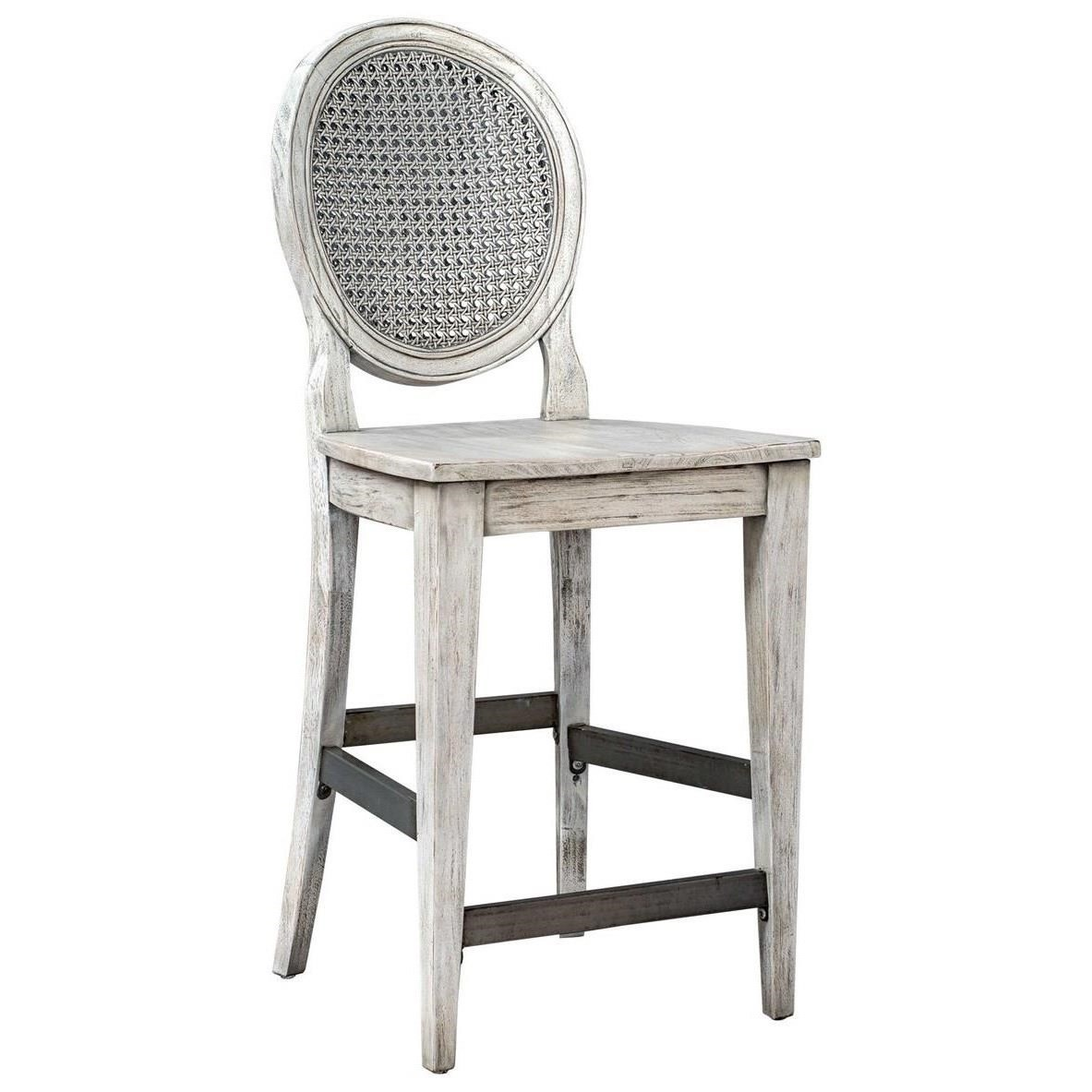 Accent Furniture - Stools Clarion Aged White Counter Stool by Uttermost at O'Dunk & O'Bright Furniture