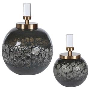Cessair Art Glass Bottles, S/2