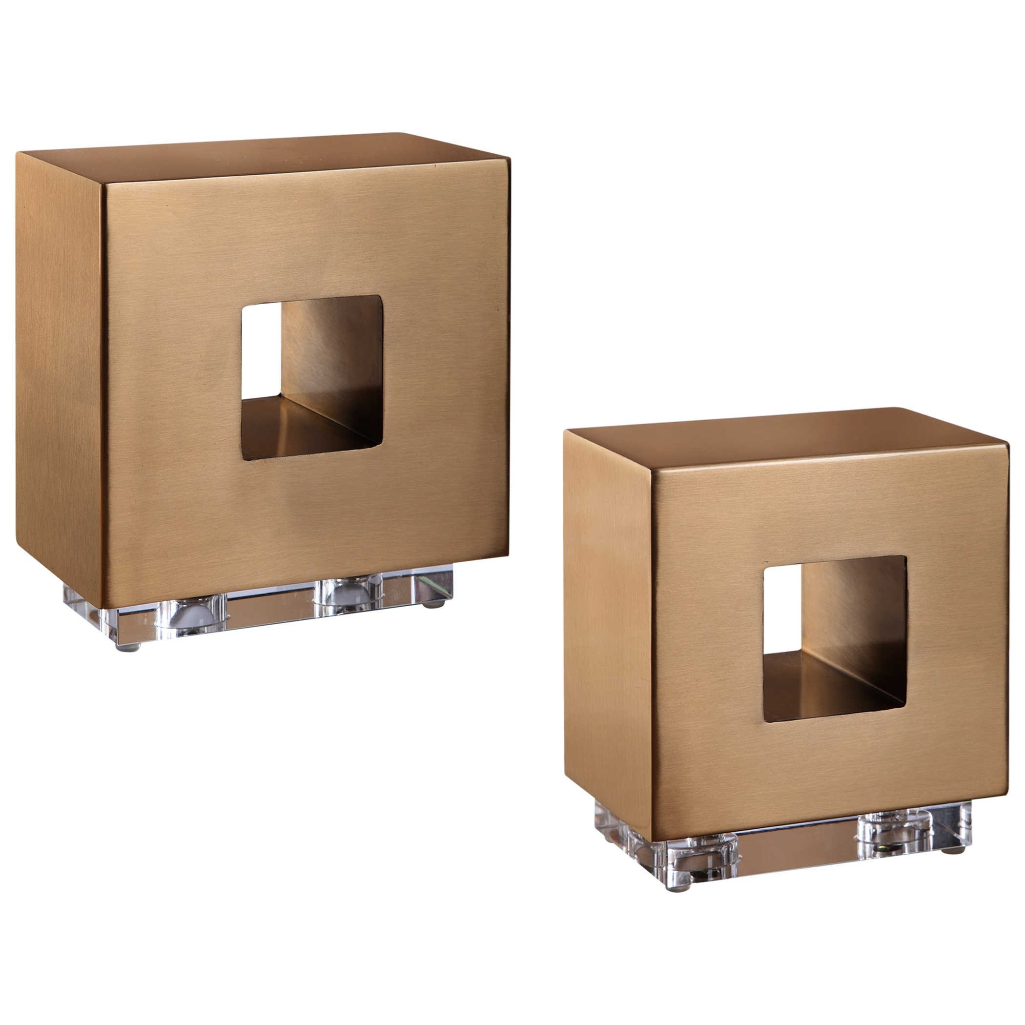 Accessories Rooney Brass Cubes, S/2 by Uttermost at Mueller Furniture