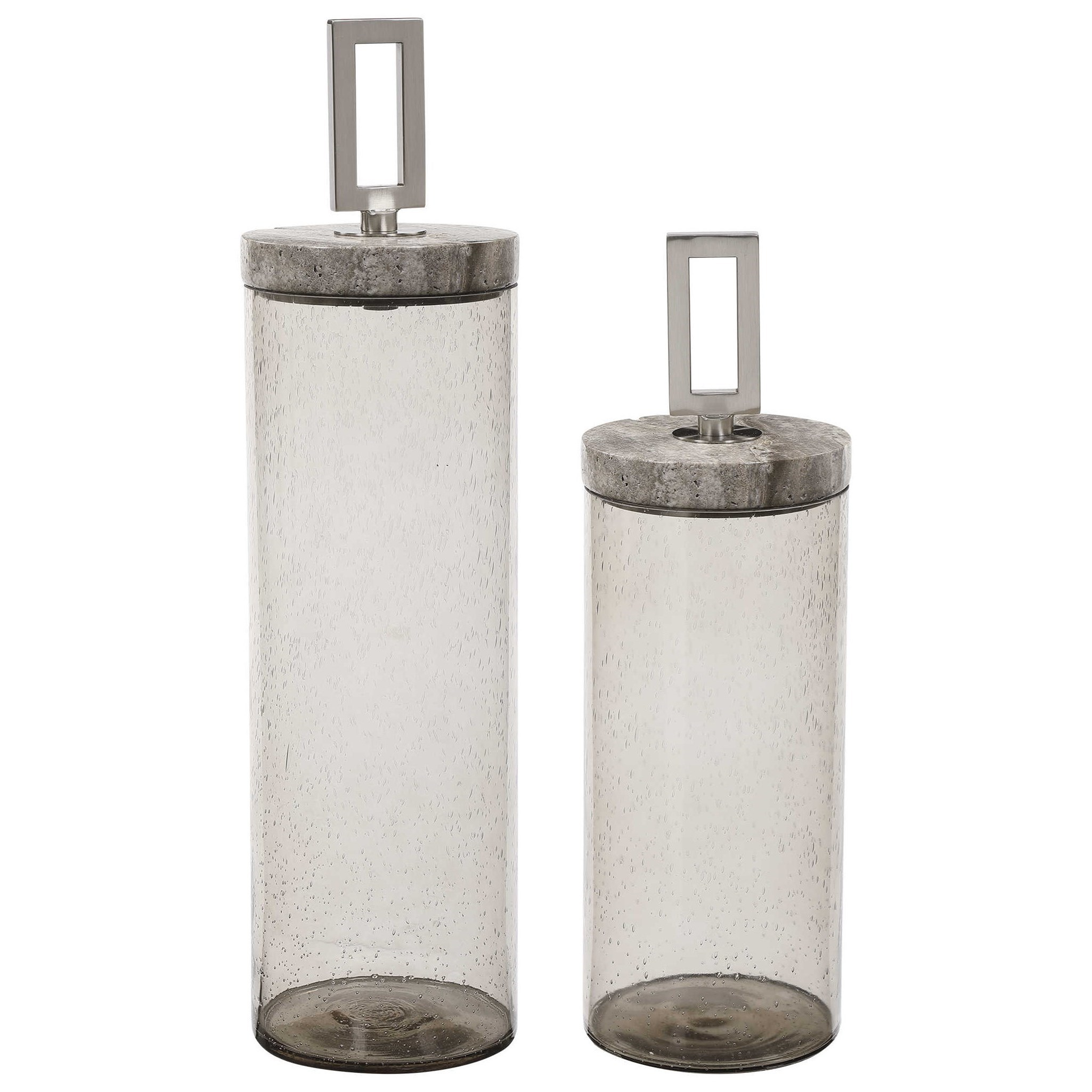 Seeded Glass Containers, S/2