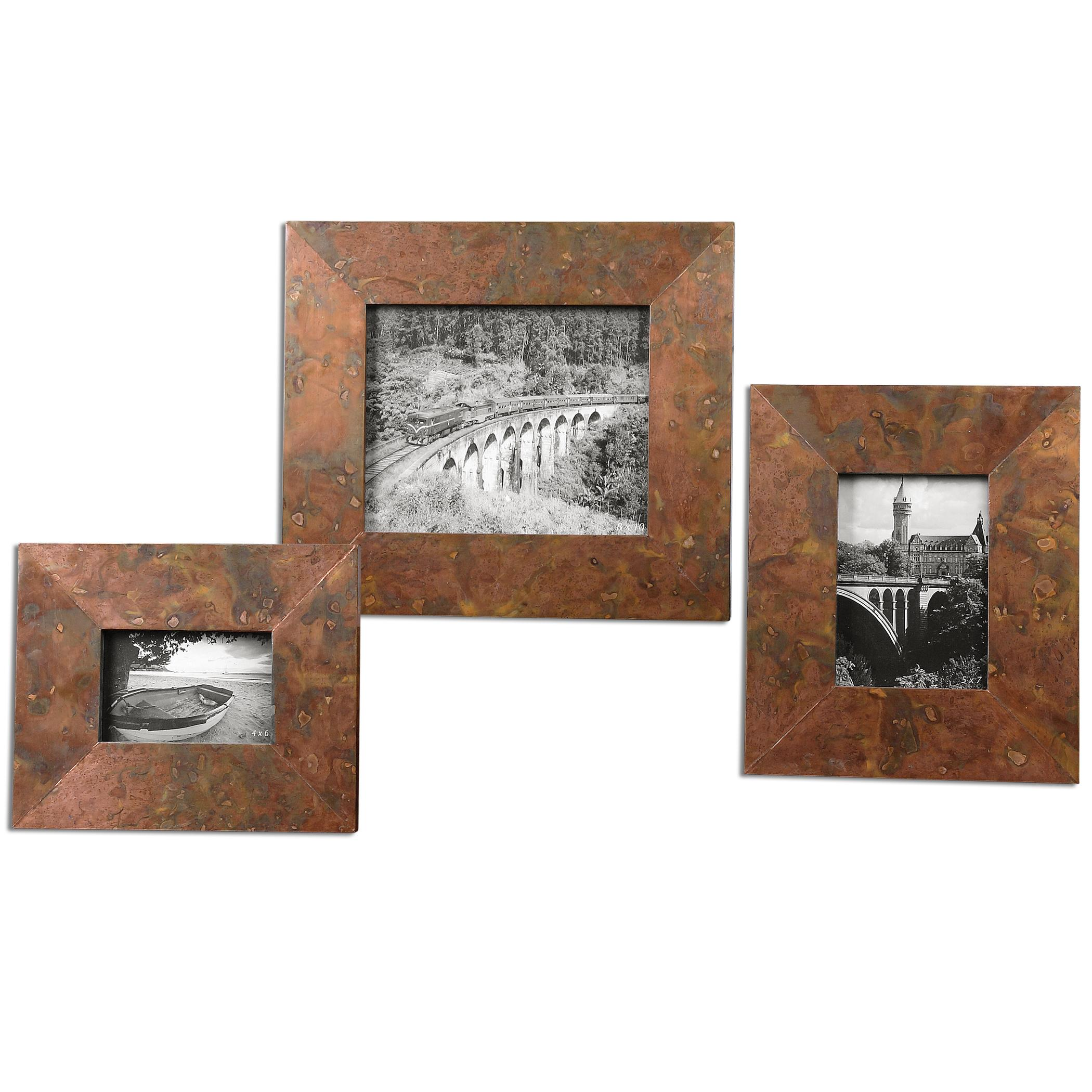 Accessories - Picture Frames Ambrosia Copper Photo Frames, Set of  3 by Uttermost at Suburban Furniture