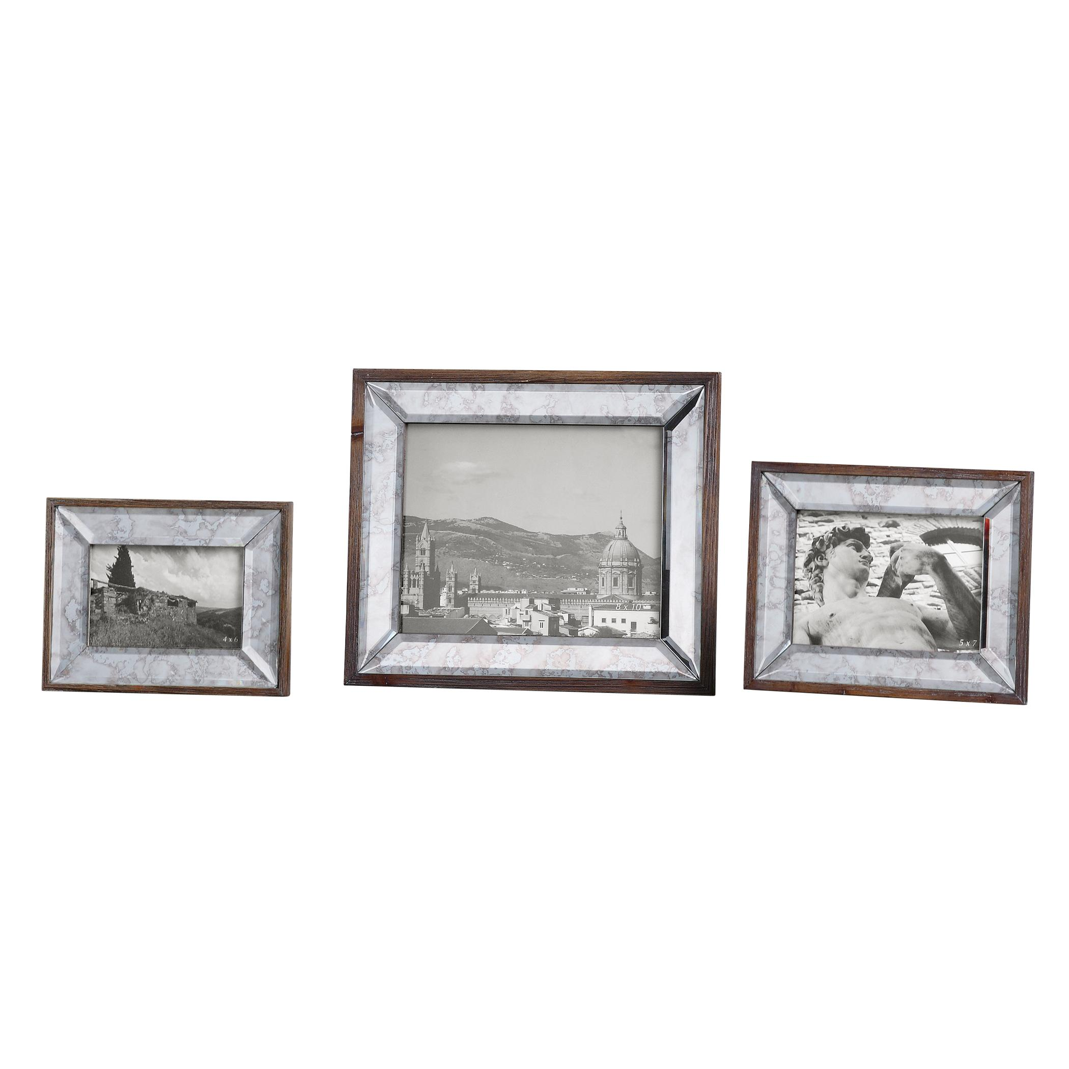 Accessories - Picture Frames Daria Antique Mirror Photo Frames Set of 3 by Uttermost at Mueller Furniture
