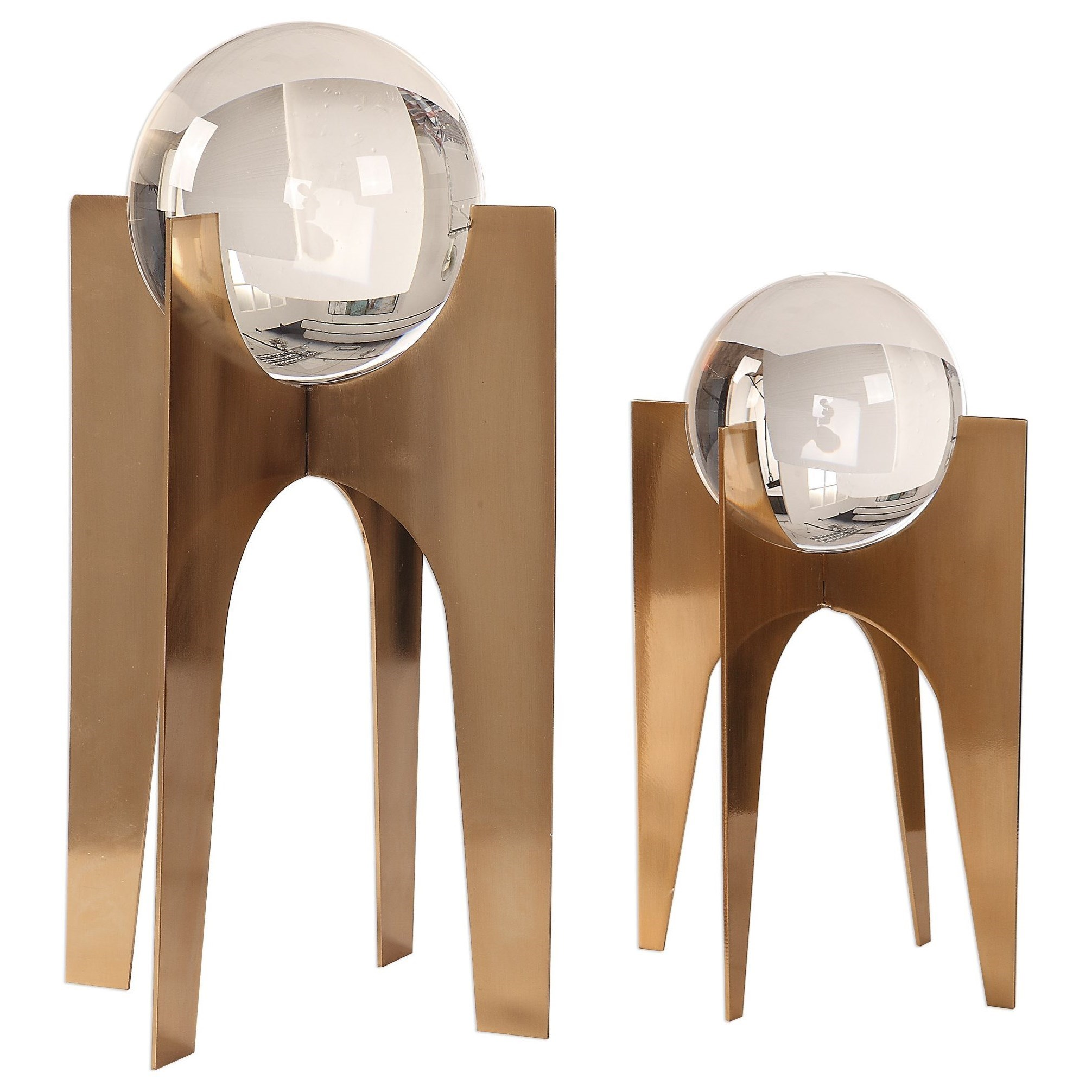 Accessories - Statues and Figurines Ellianna Crystal Spheres, S/2 by Uttermost at Mueller Furniture