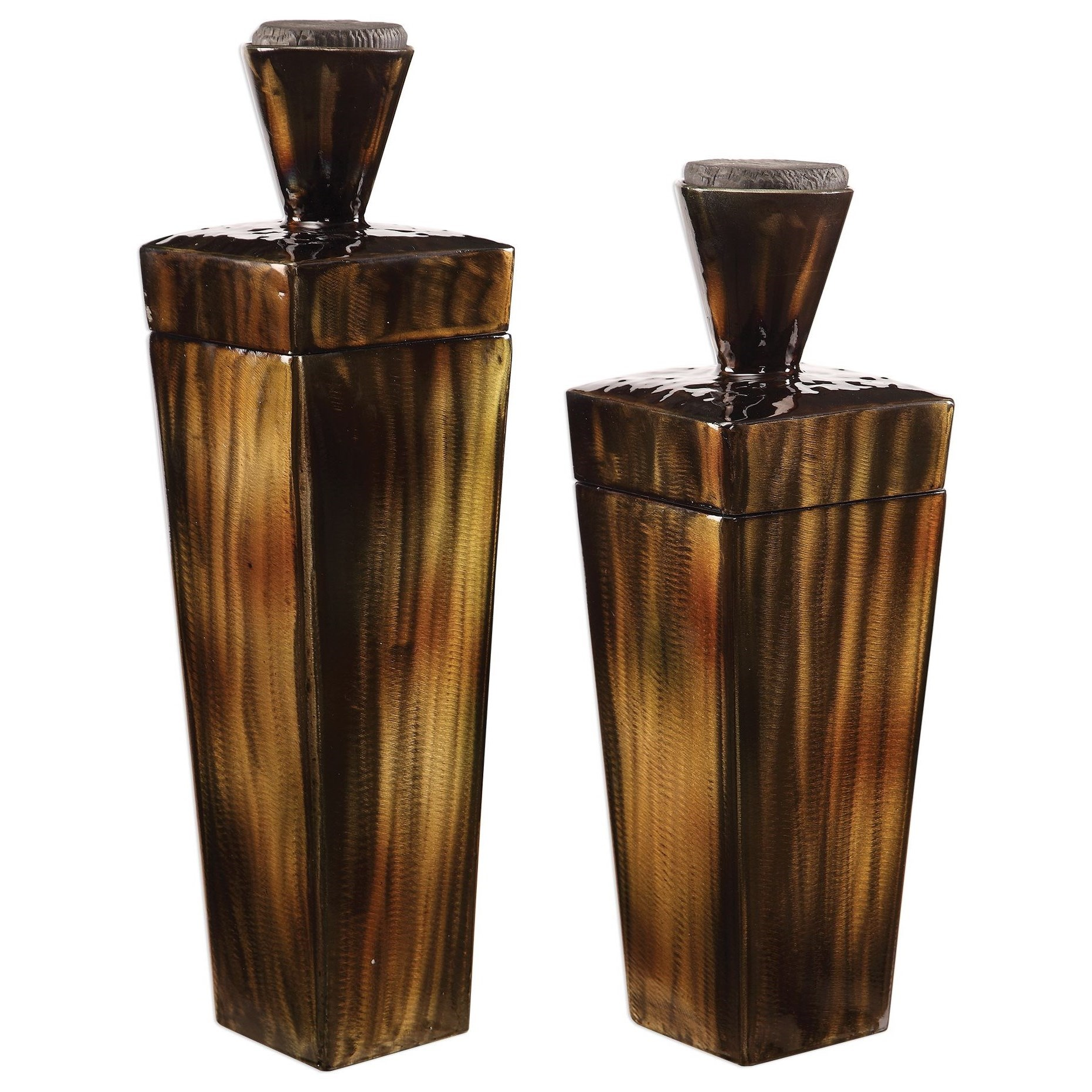 Accessories Lisa Brown Steel Containers, S/2 by Uttermost at Mueller Furniture