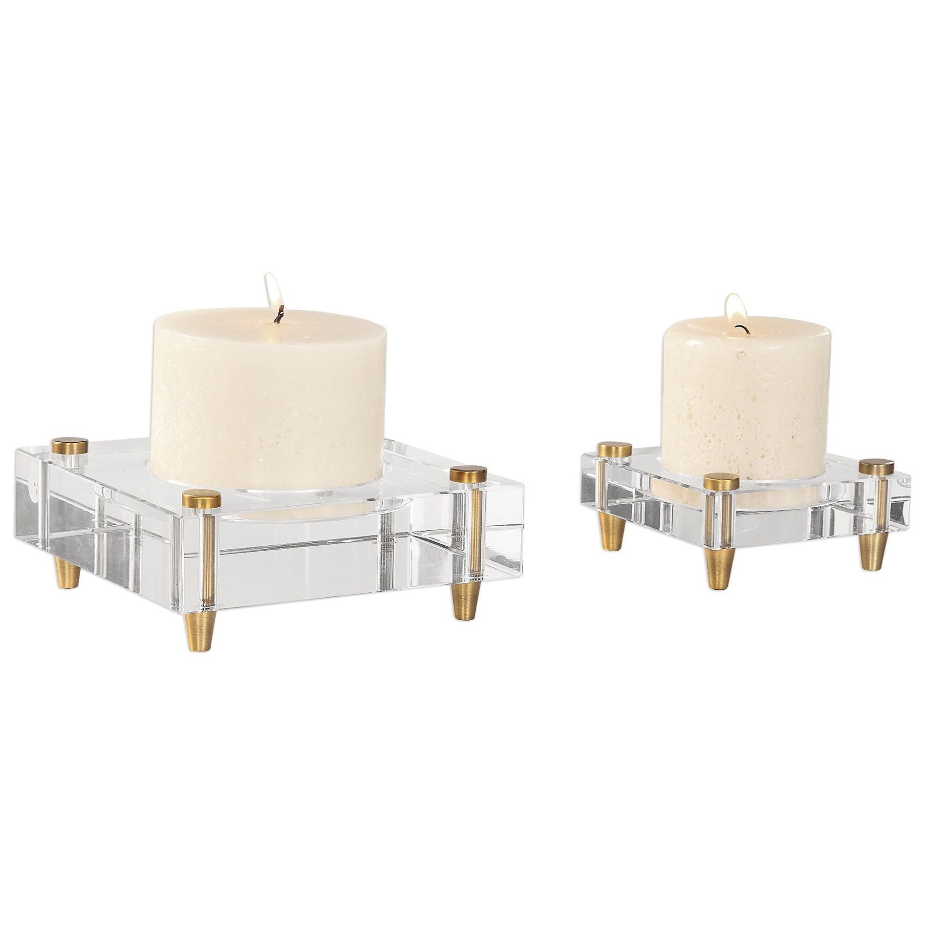 Accessories - Candle Holders Claire Crystal Block Candleholders, S/2 by Uttermost at Dunk & Bright Furniture
