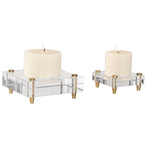 Claire Crystal Block Candleholders, S/2