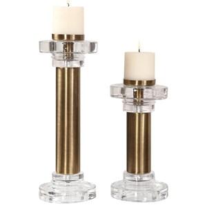 Leslie Brushed Brass Candleholders, S/2
