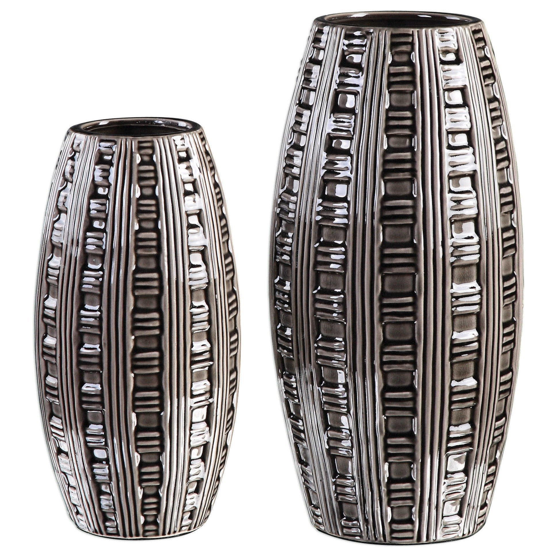 Accessories - Vases and Urns Aura Weave Pattern Vases (Set of 2) by Uttermost at Mueller Furniture