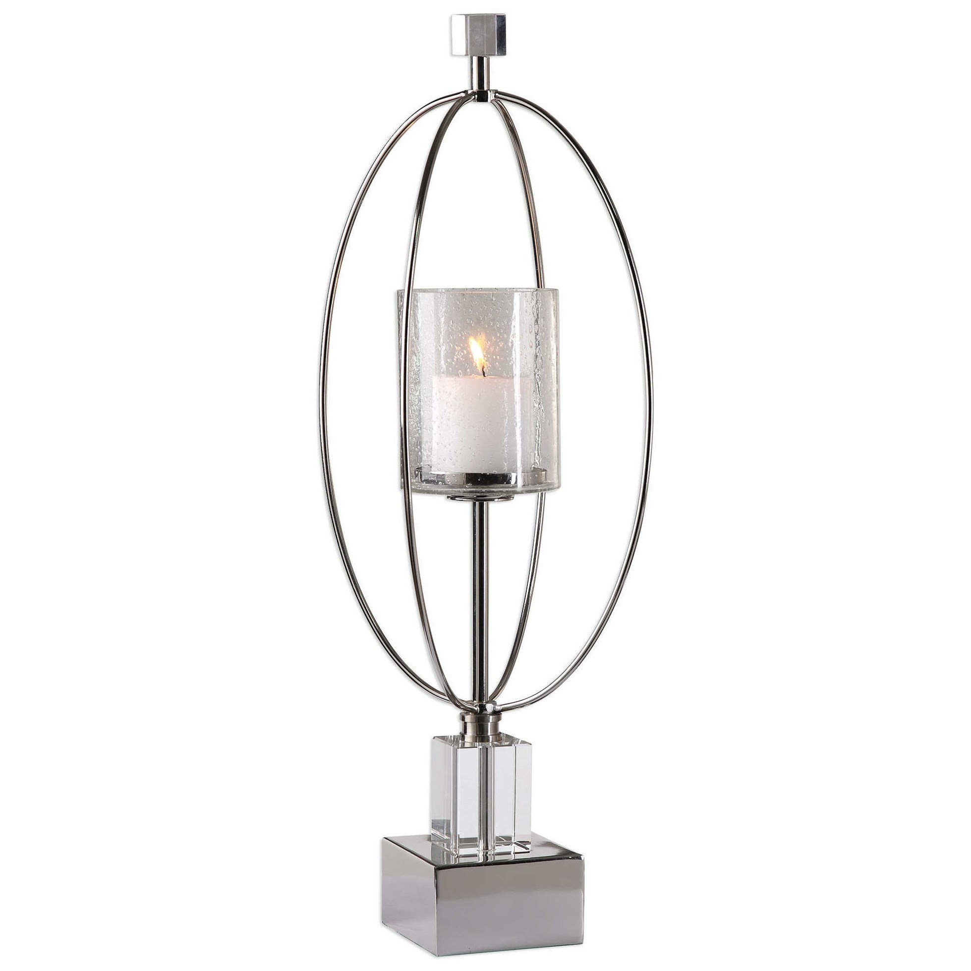 Accessories - Candle Holders Tamra Polished Silver Candleholders by Uttermost at Mueller Furniture