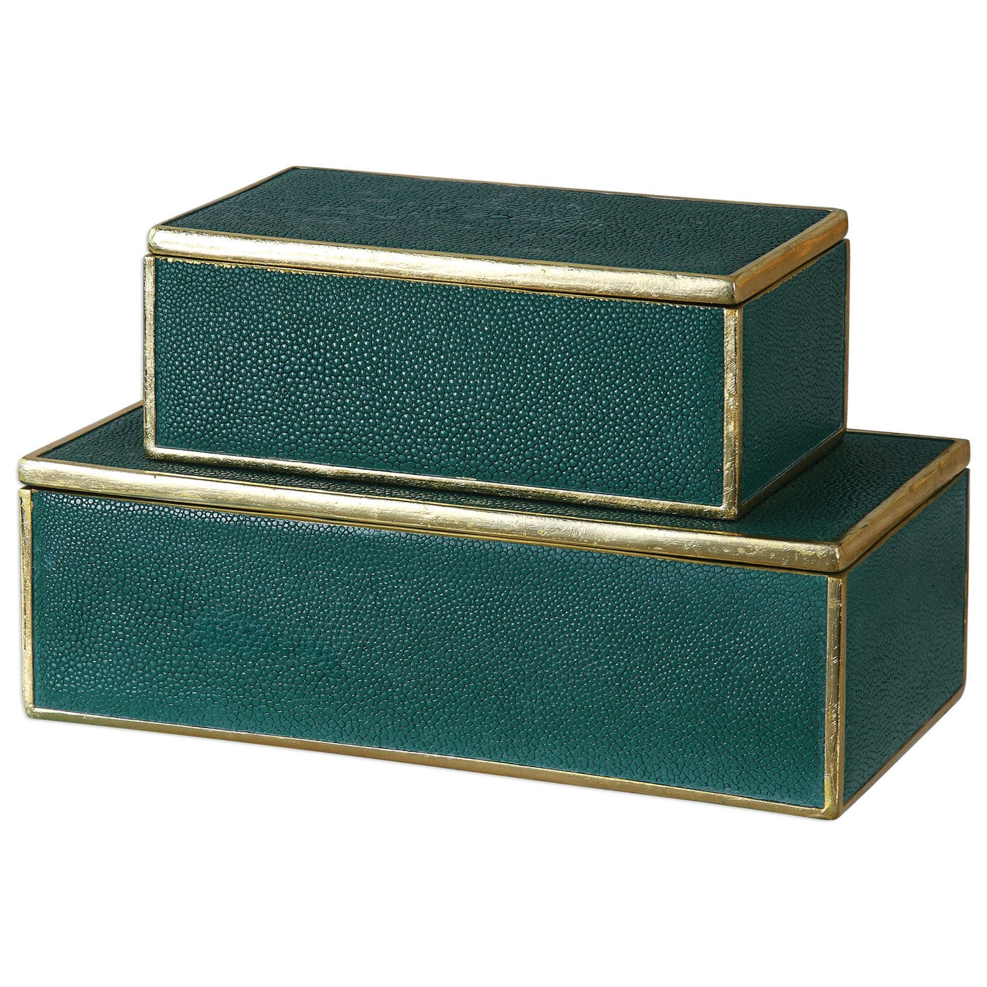 Accessories - Boxes Karis Emerald Green Boxes (Set of 2) by Uttermost at Dunk & Bright Furniture